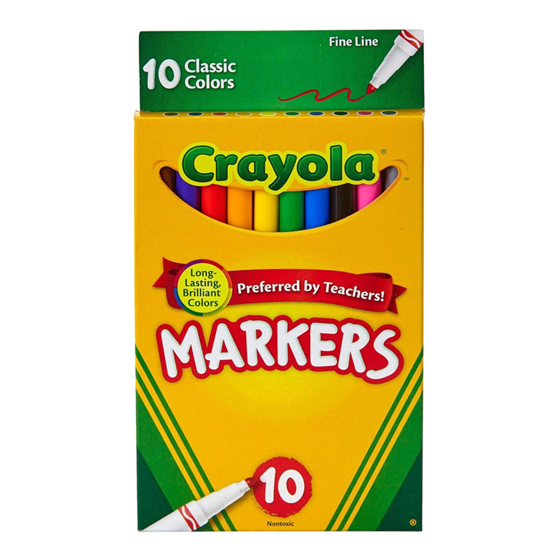 Crayola Classic Fine-Tip Washable Marker Set 10 piece