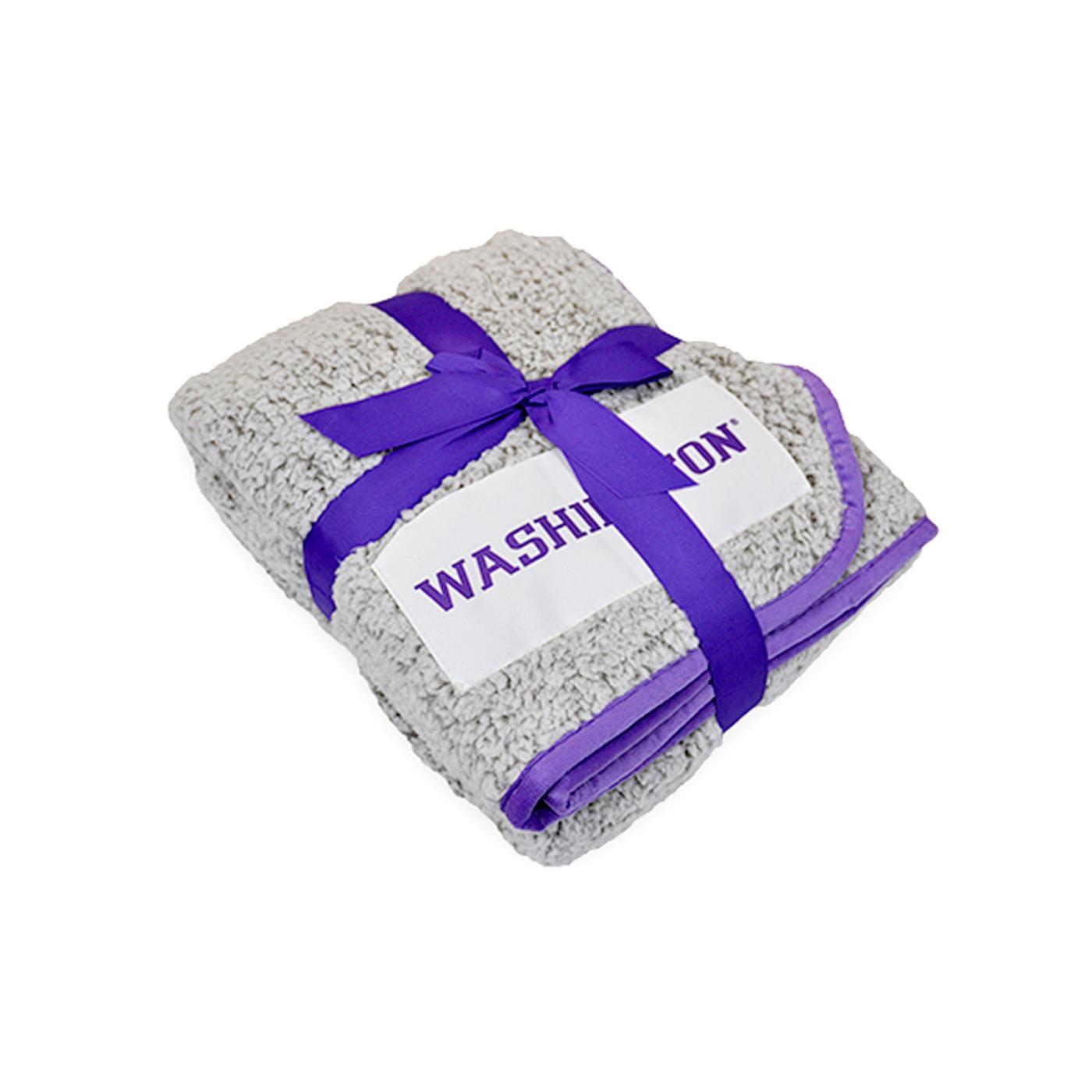 Logo Brands Cream And Purple Washington Frosty Fleece Blanket