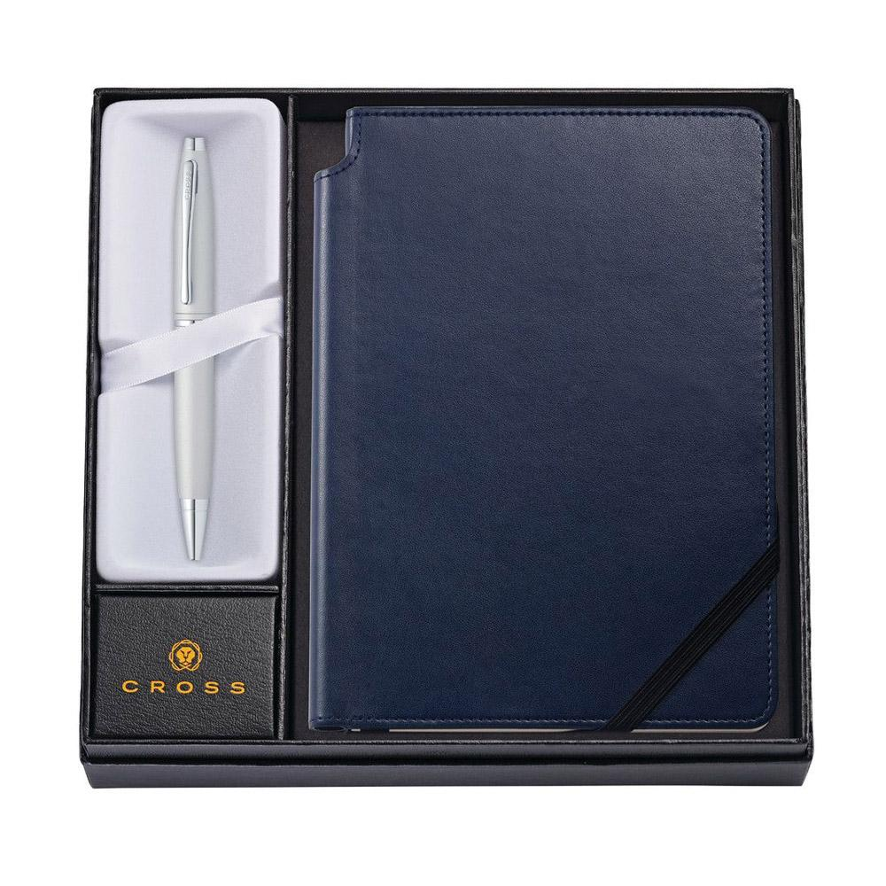 Cross Calais Satin Chrome Ballpoint Journal Set Blue