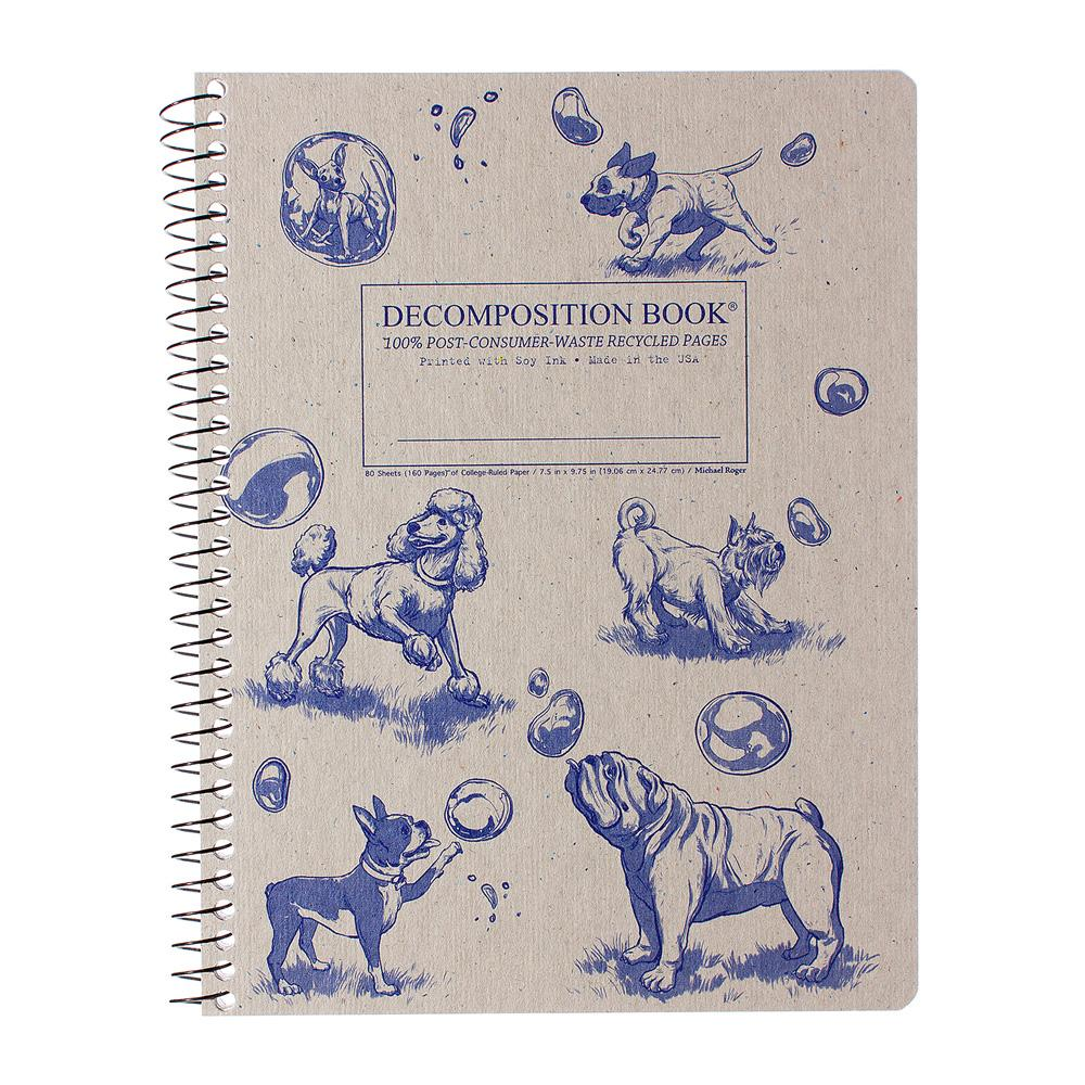 Decomposition Book Dogs And Bubbles College Spiral Notebook