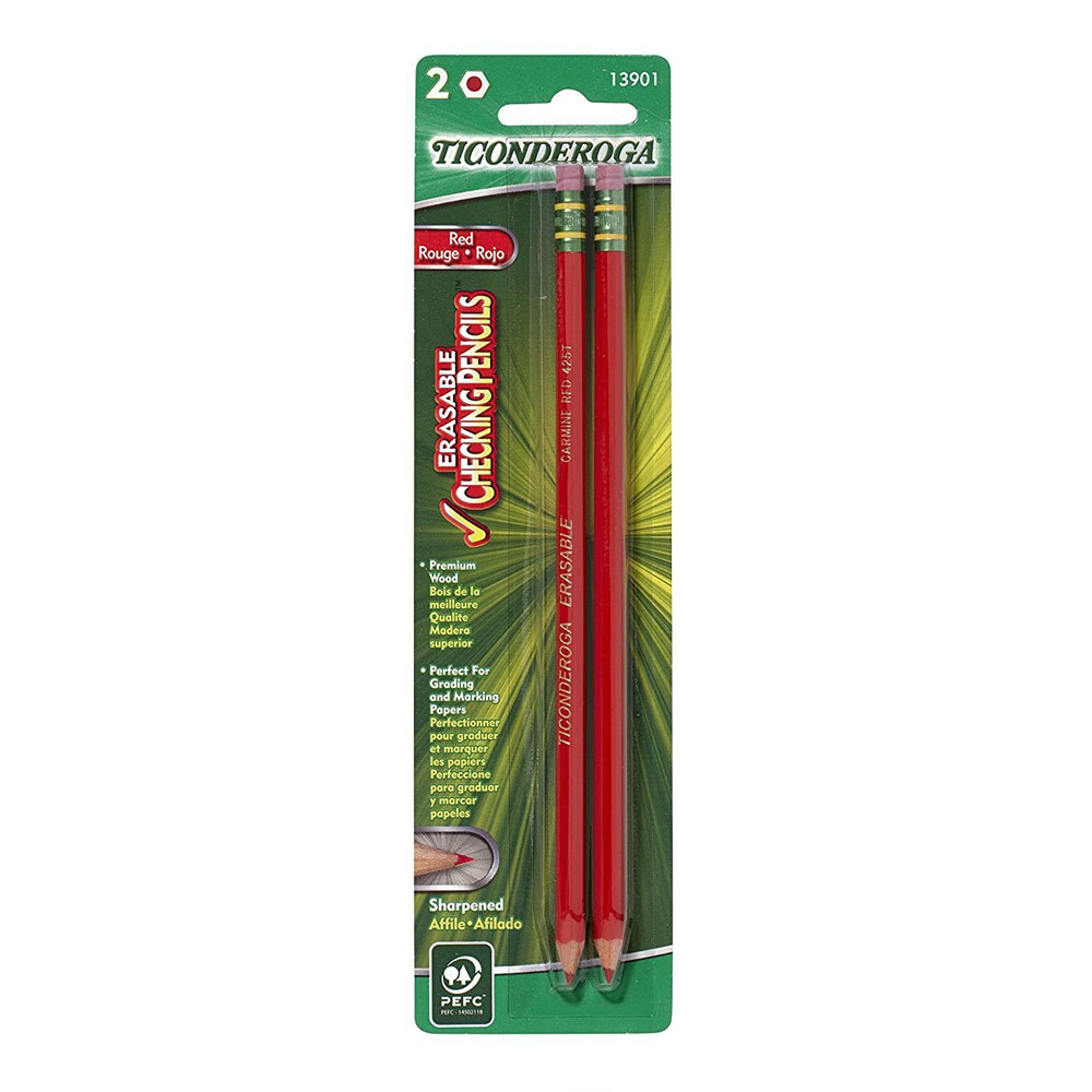 Dixon Ticonderoga Erasable Red Checking Pencil 2 Count