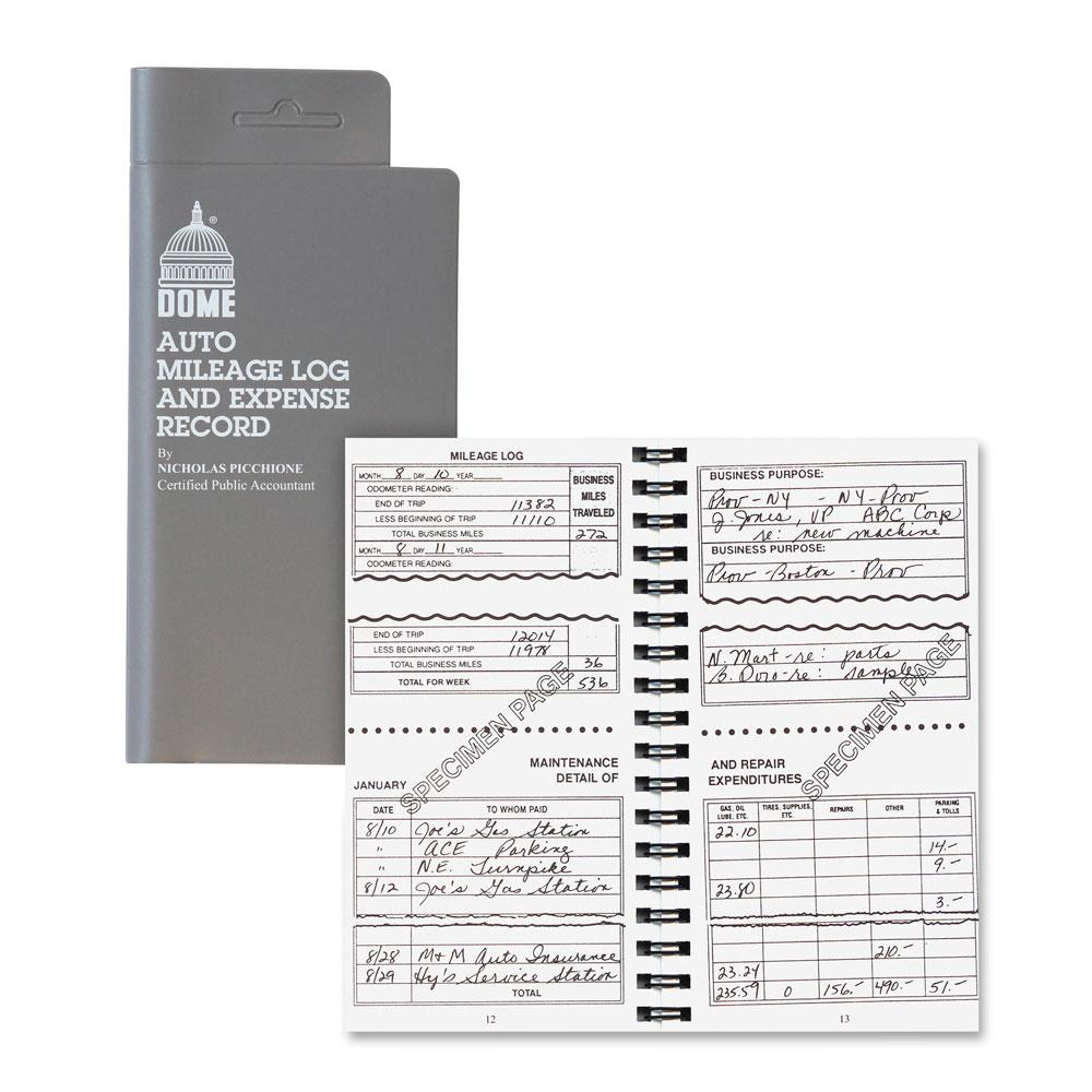 Dome Auto Mileage Log & Expense Record Spiral Book