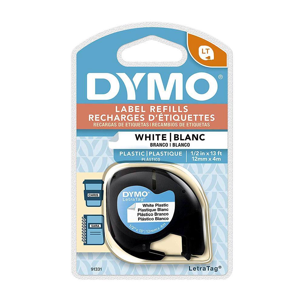 """Dymo White .5"""" Plastic Labeling Tape"""