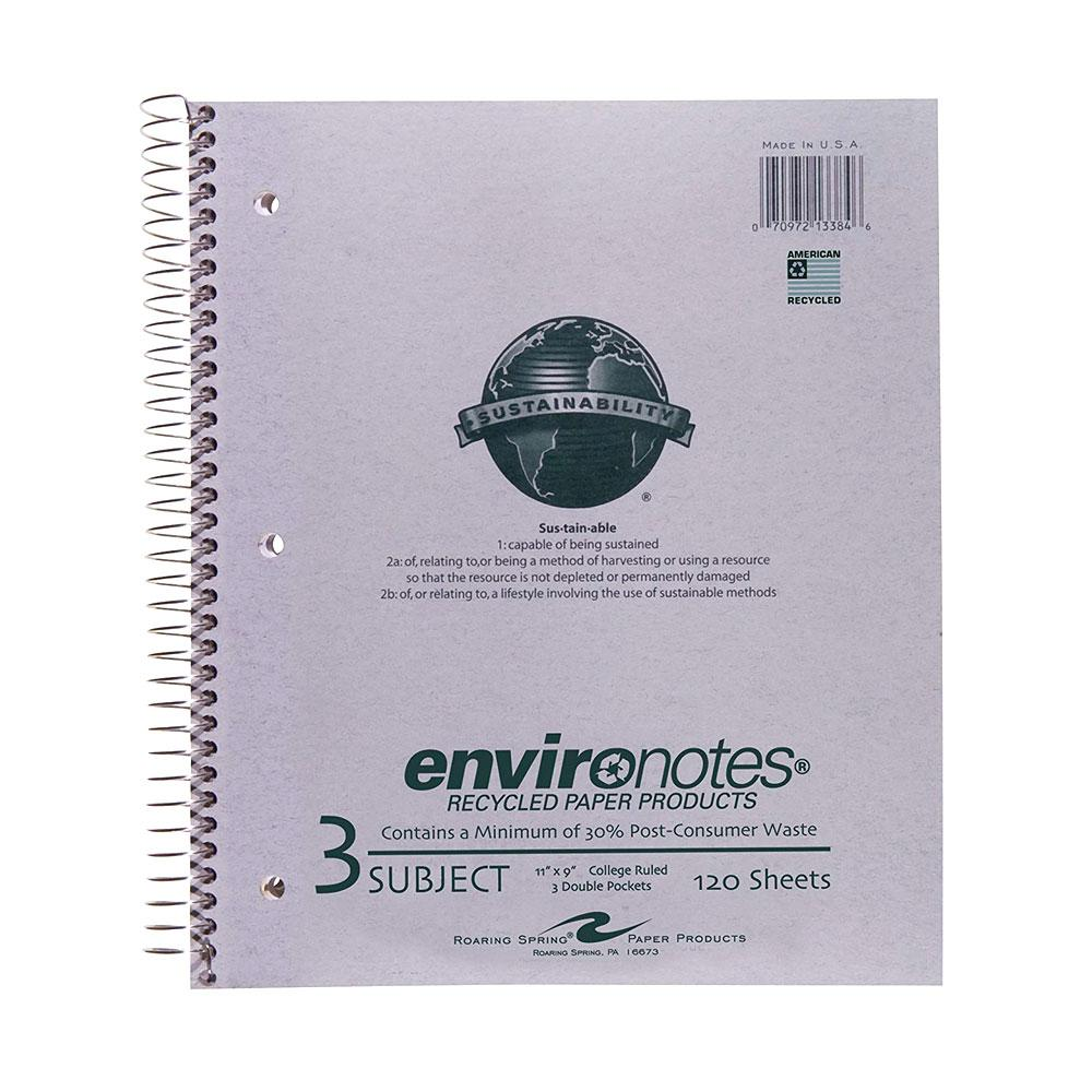 Roaring Spring Environotes 3 Subject College Spiral Notebook