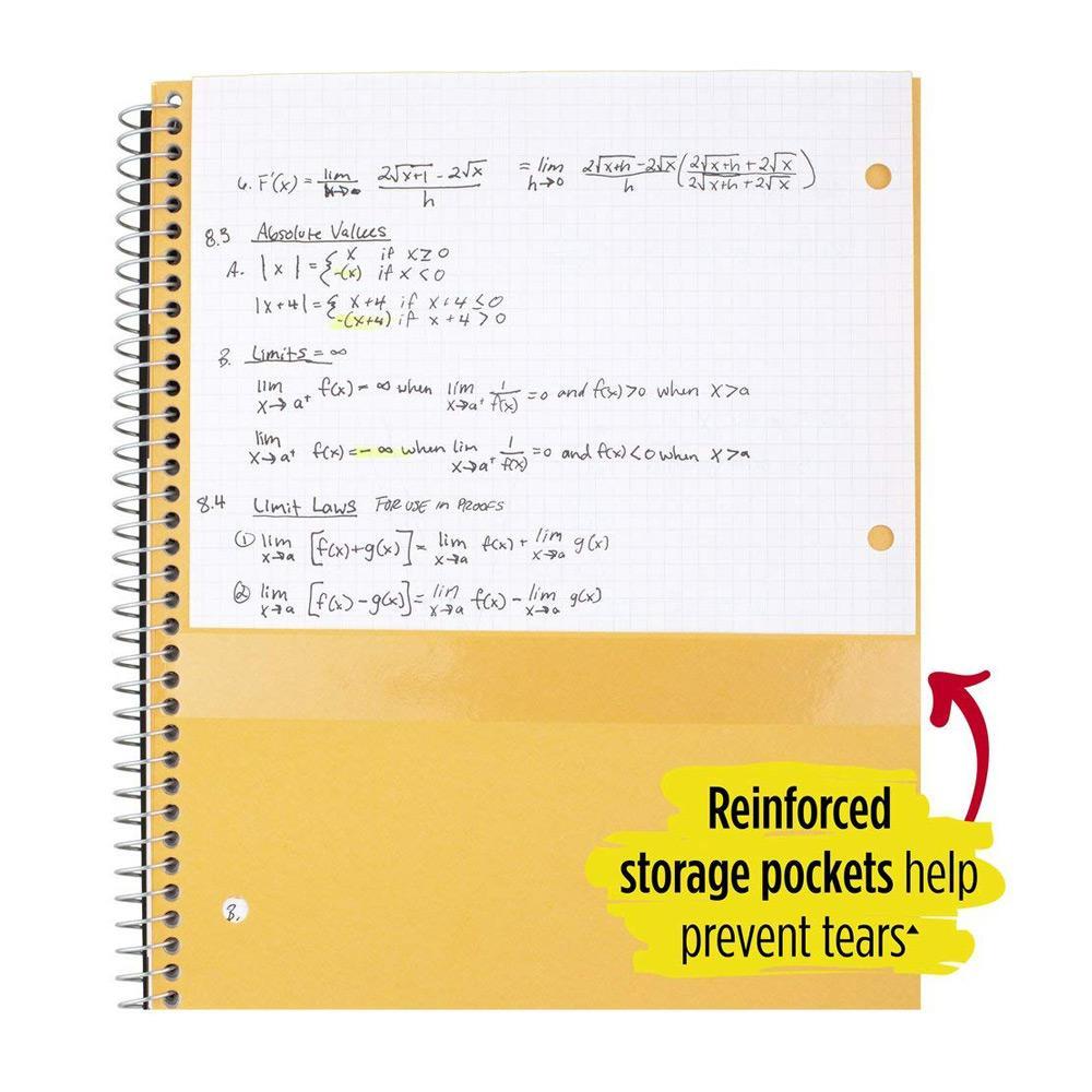 Five Star 1 Subject Spiral Notebook Pocket