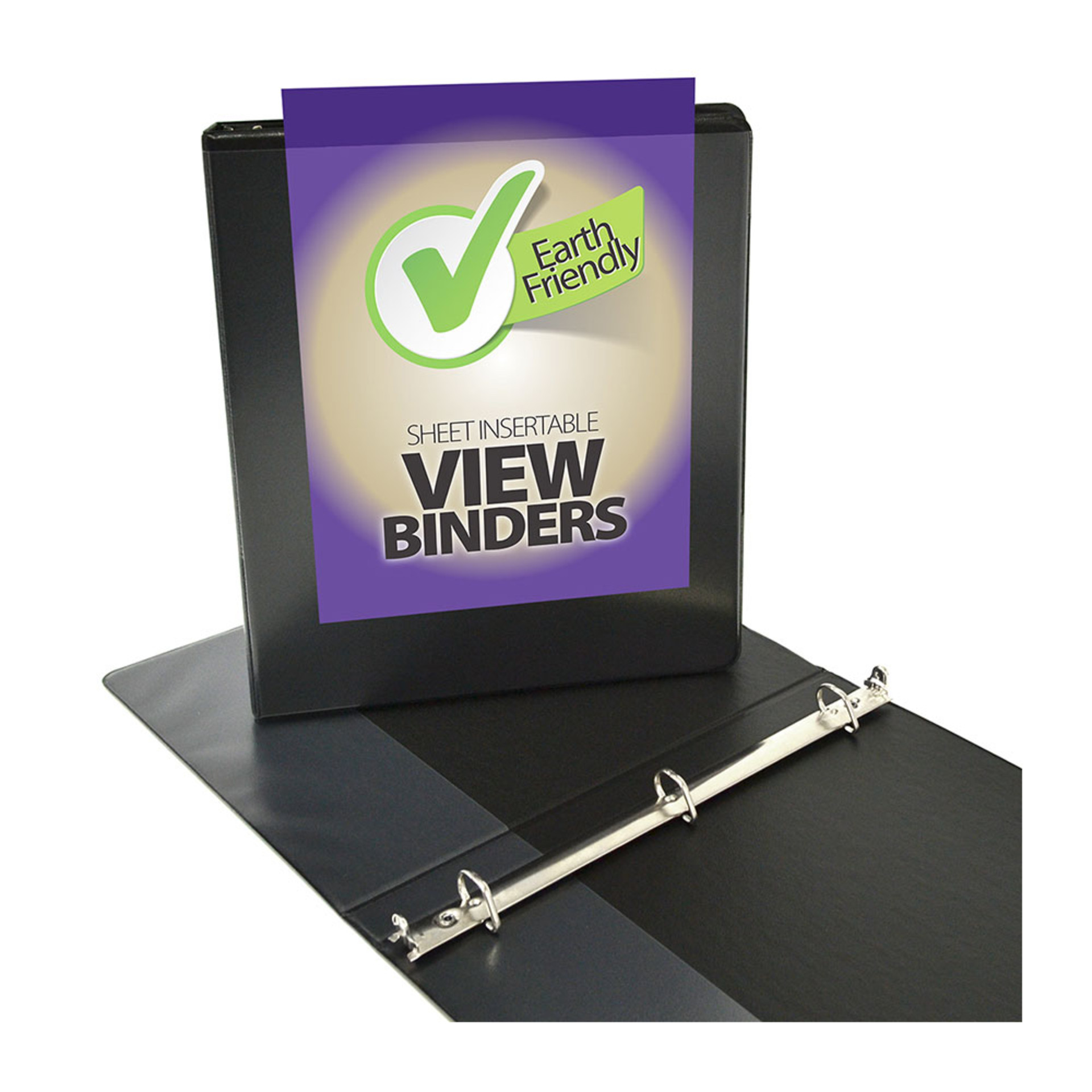 "Four Point 0.5"" D 3-Ring View Binder Black"