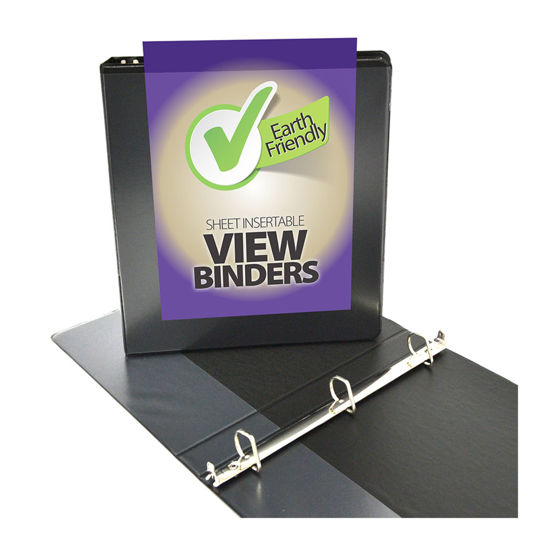 "Four Point 1"" D 3-Ring View Binder Black"
