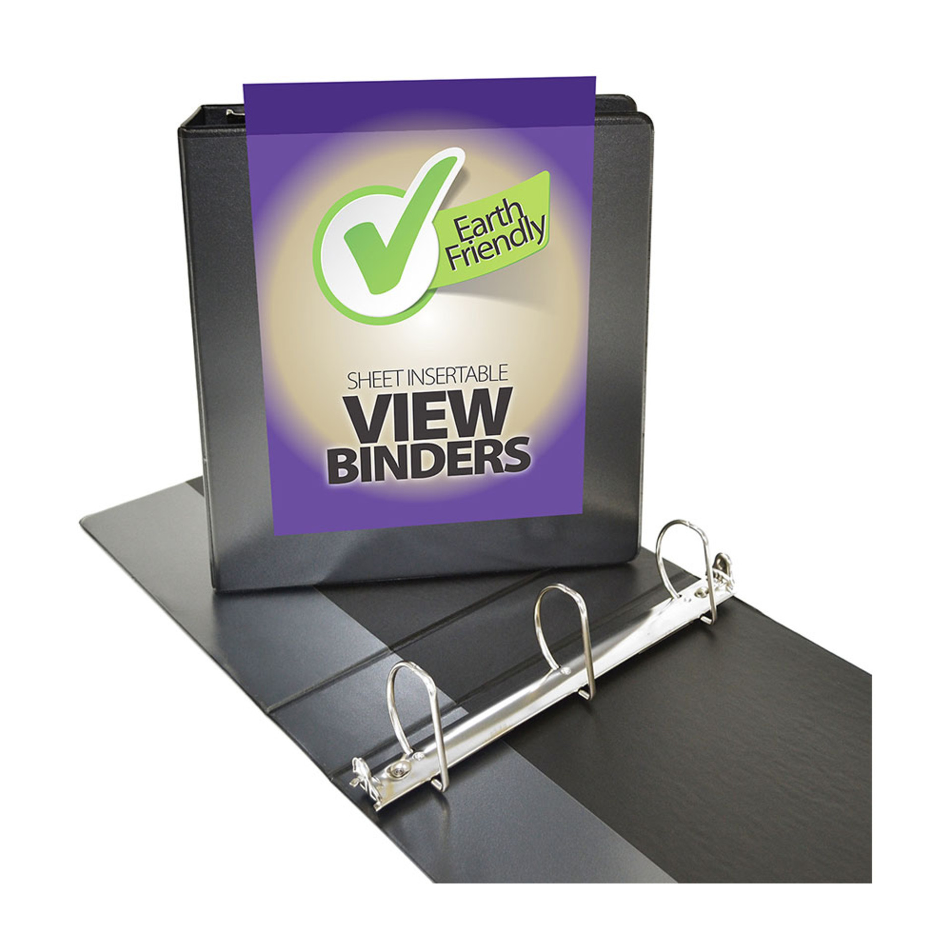 """Four Point 2"""" D 3-Ring View Binder Black"""