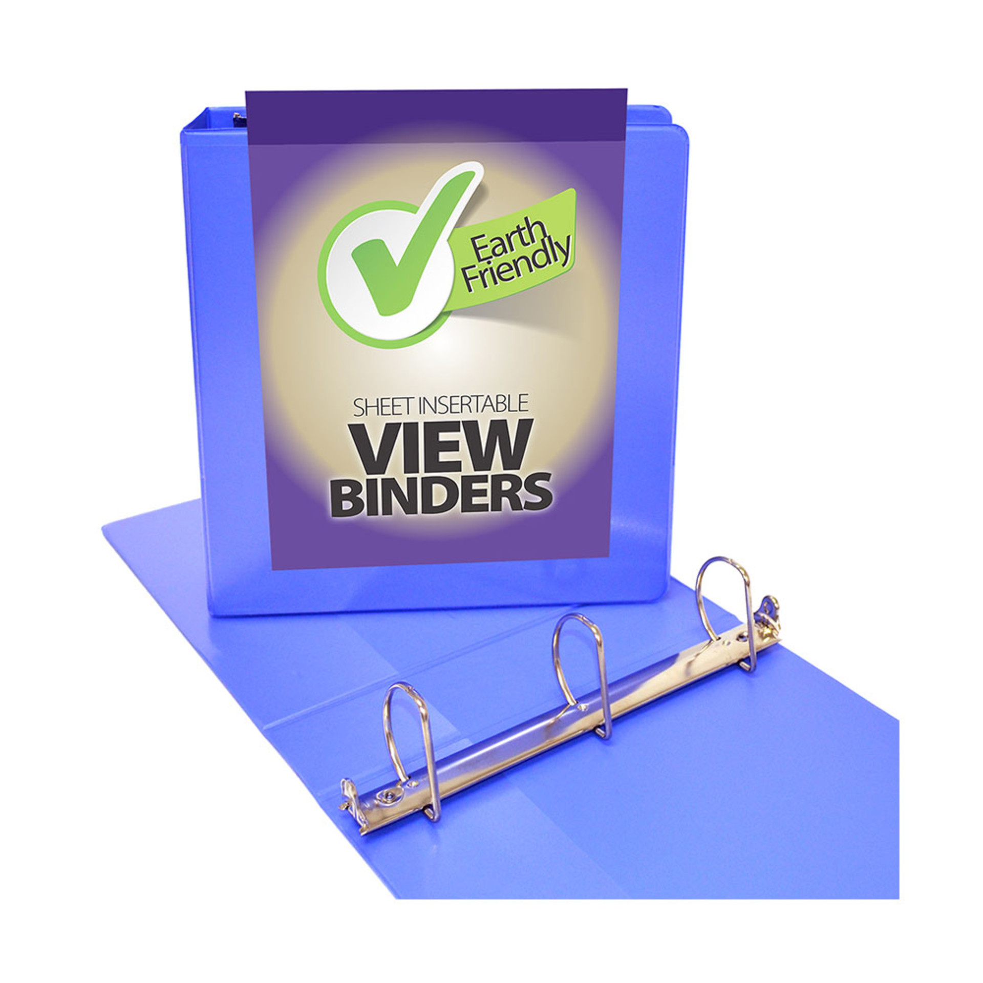 """Four Point 2"""" D 3-Ring View Binder Periwinkle"""
