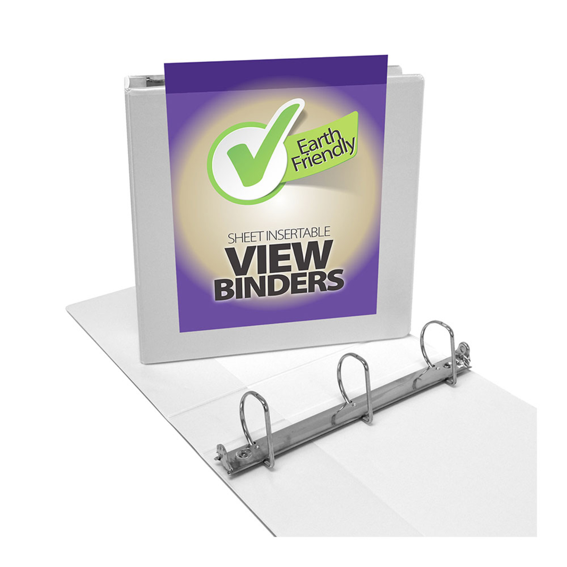 """Four Point 2"""" D 3-Ring View Binder White"""