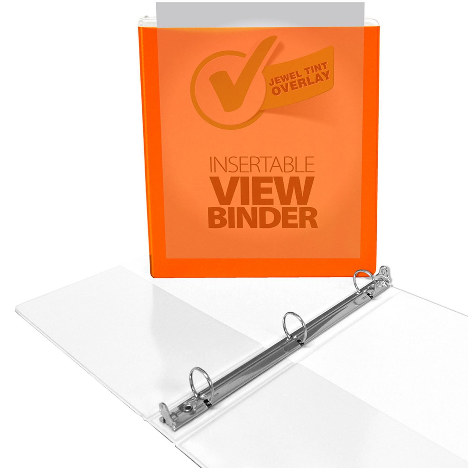 """Four Point Jewel Tint 1"""" View 3-Ring Binder Orange"""