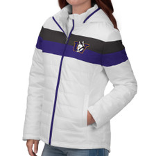GIII Women's Retro Dog Stripe Puffer Jacket – Front