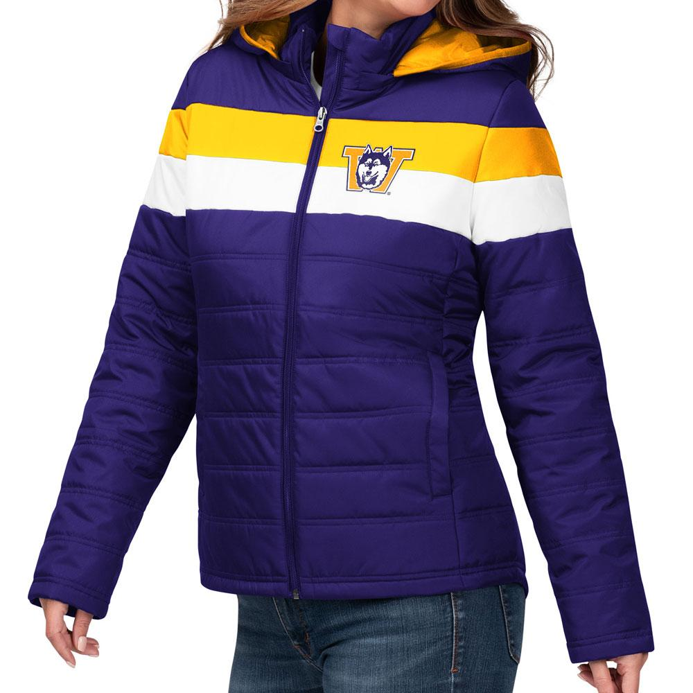 GIII Women's Vault Dog Stripe Puffer Jacket – Front