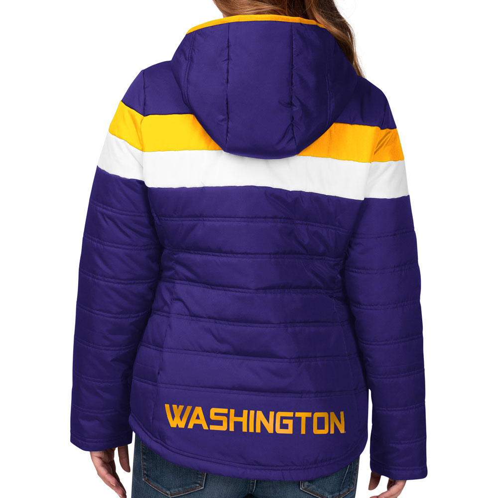 GIII Women's Vault Dog Stripe Puffer Jacket – Back