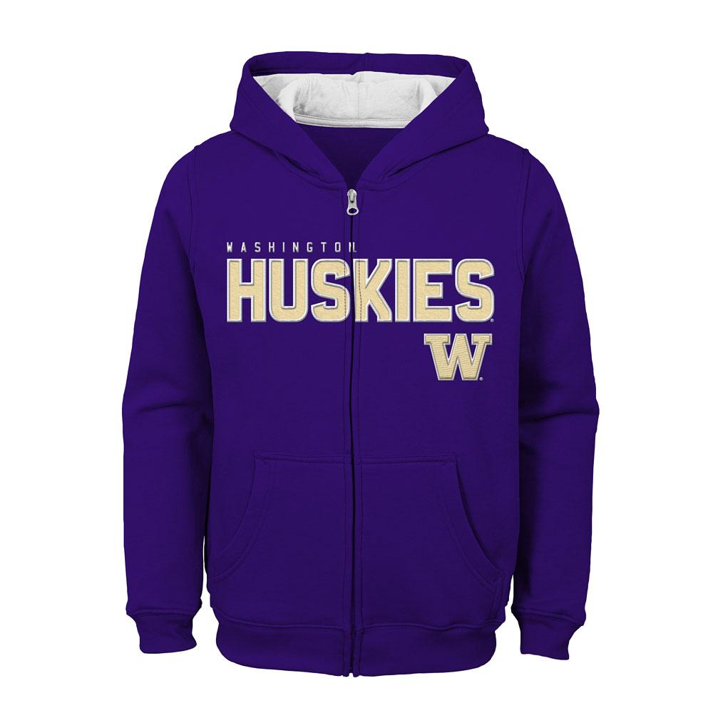 Gen2 Kids' Washington Huskies W Full-zip Fleece Hoodie