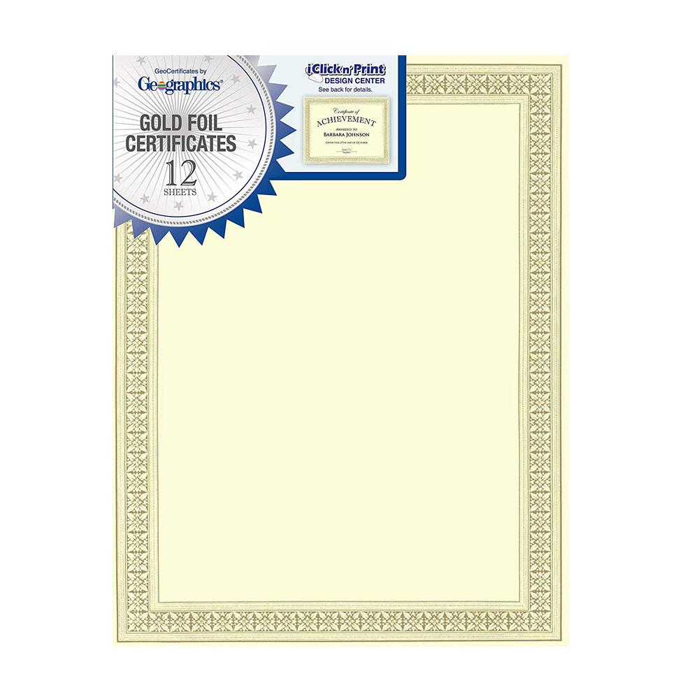 "Geographics Gold Foil Border 8.5""x11"" Certificate 12ct"