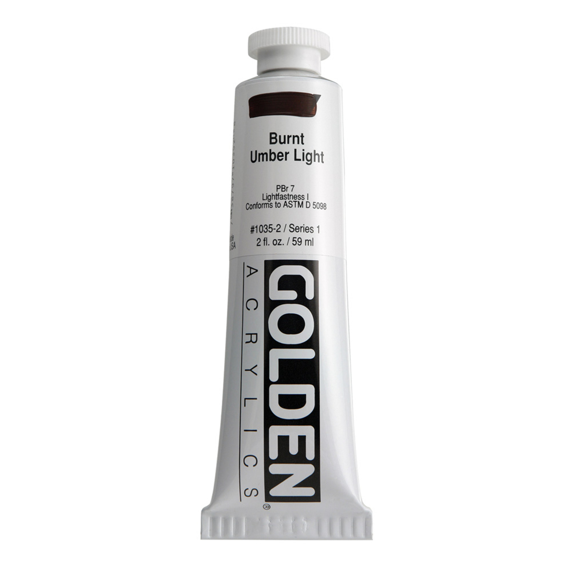 Golden Heavy Body Acrylic Tube 2oz Burnt Umber Light