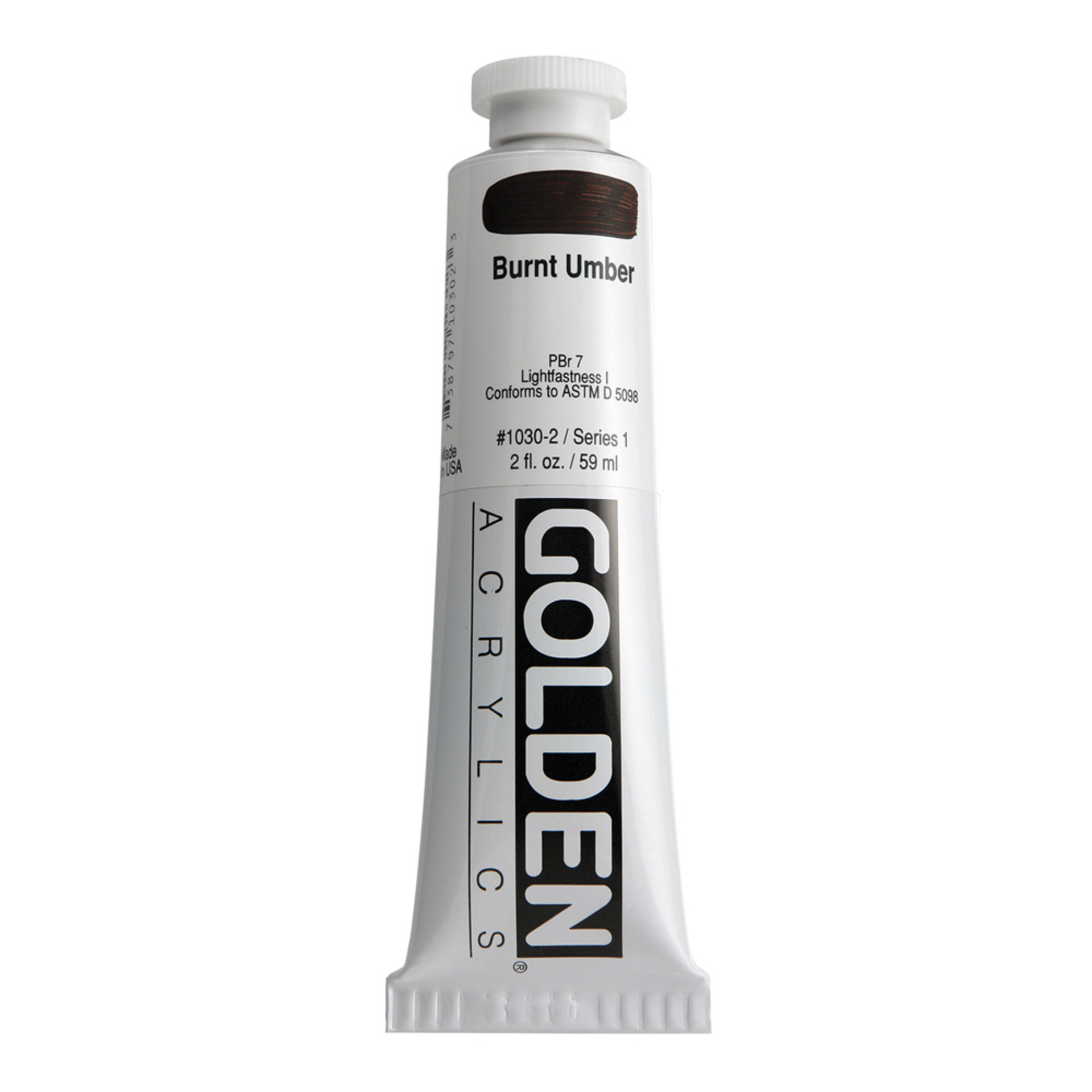 Golden Heavy Body Acrylic Tube 2oz Burnt Umber