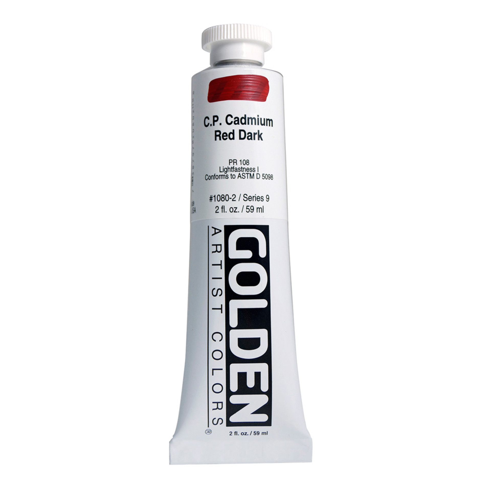 Golden Heavy Body Acrylic Tube 2oz Cadmium Red Dark