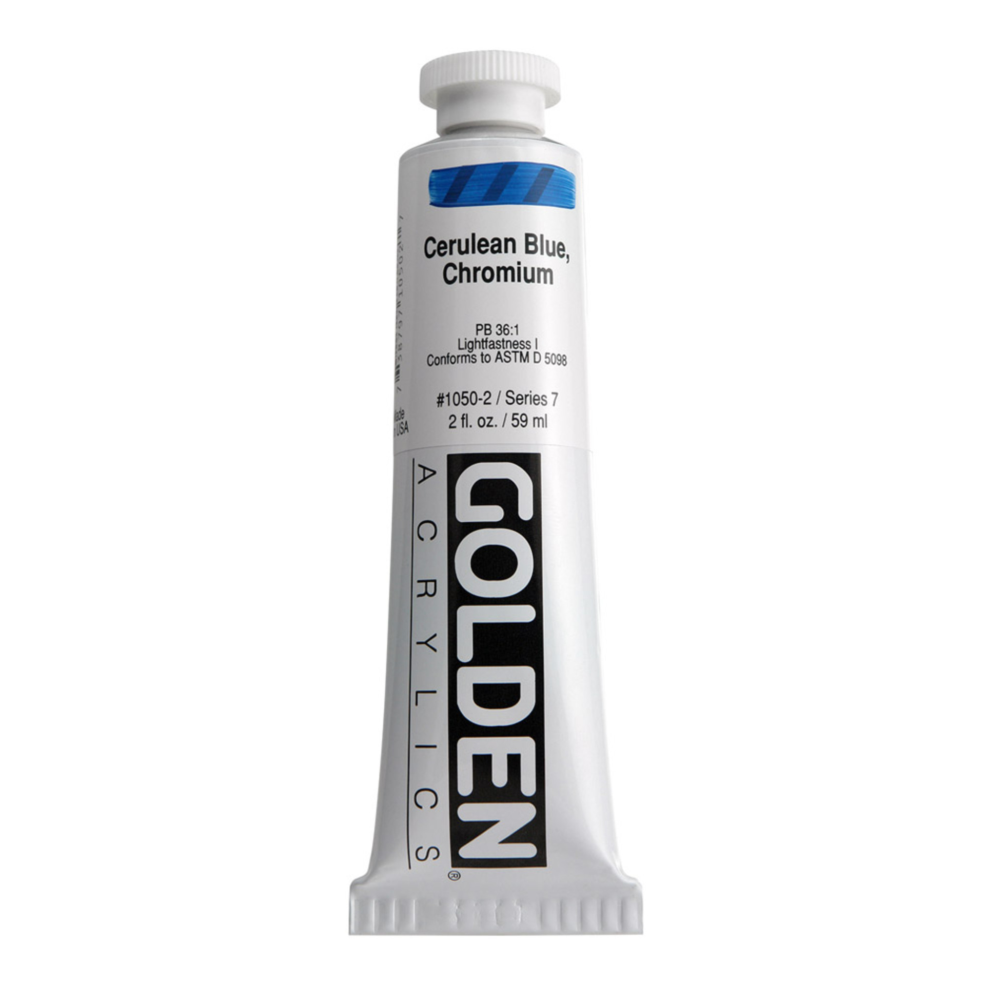 Golden Heavy Body Acrylic Tube 2oz Cerulean Blue Chrome
