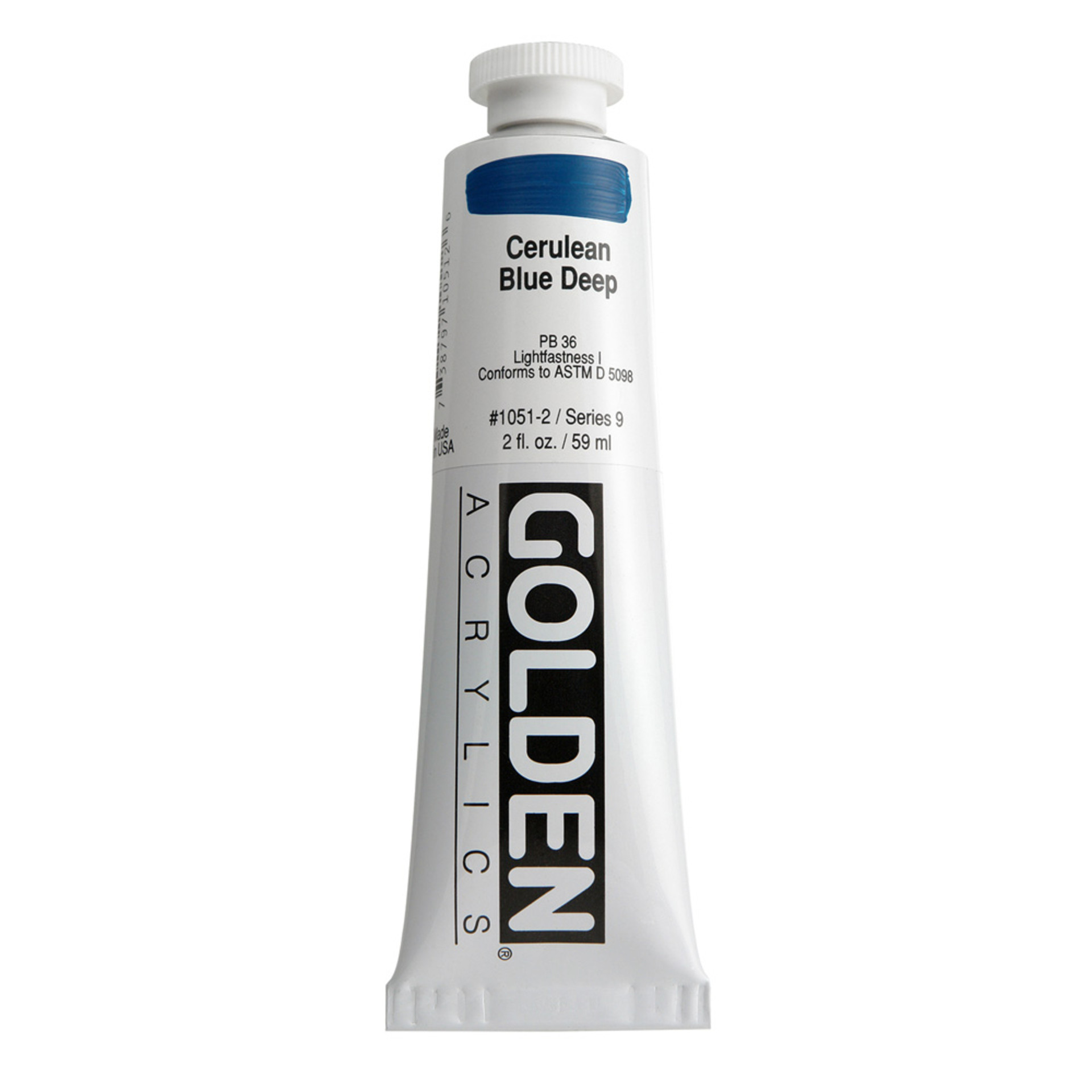 Golden Heavy Body Acrylic Tube 2oz Cerulean Blue Deep