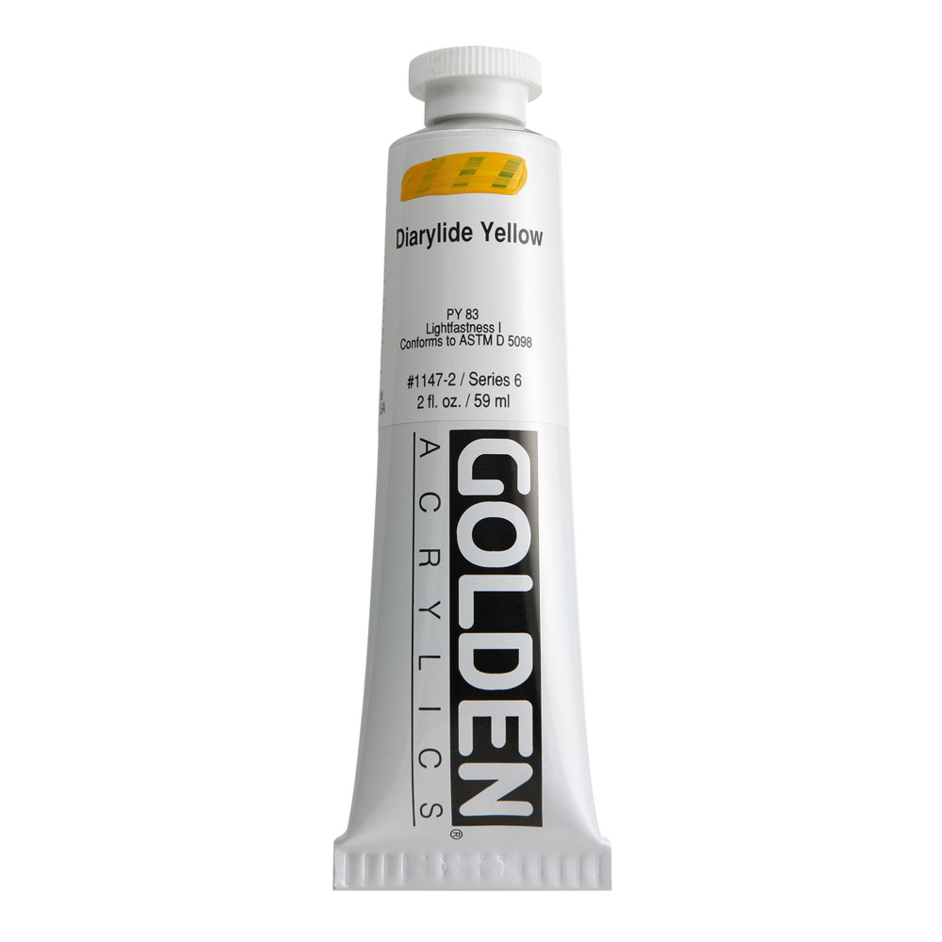 Golden Heavy Body Acrylic Tube 2oz Diaryland Yellow