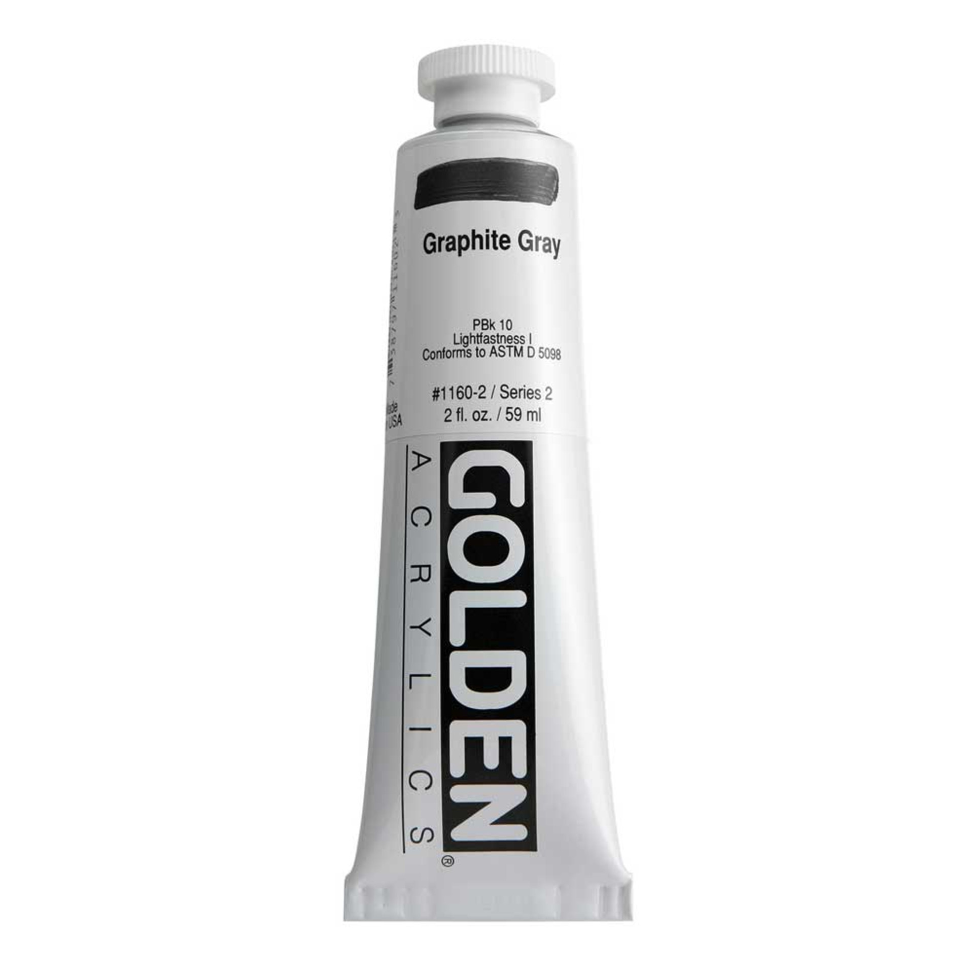 Golden Heavy Body Acrylic Tube 2oz Graphite Gray
