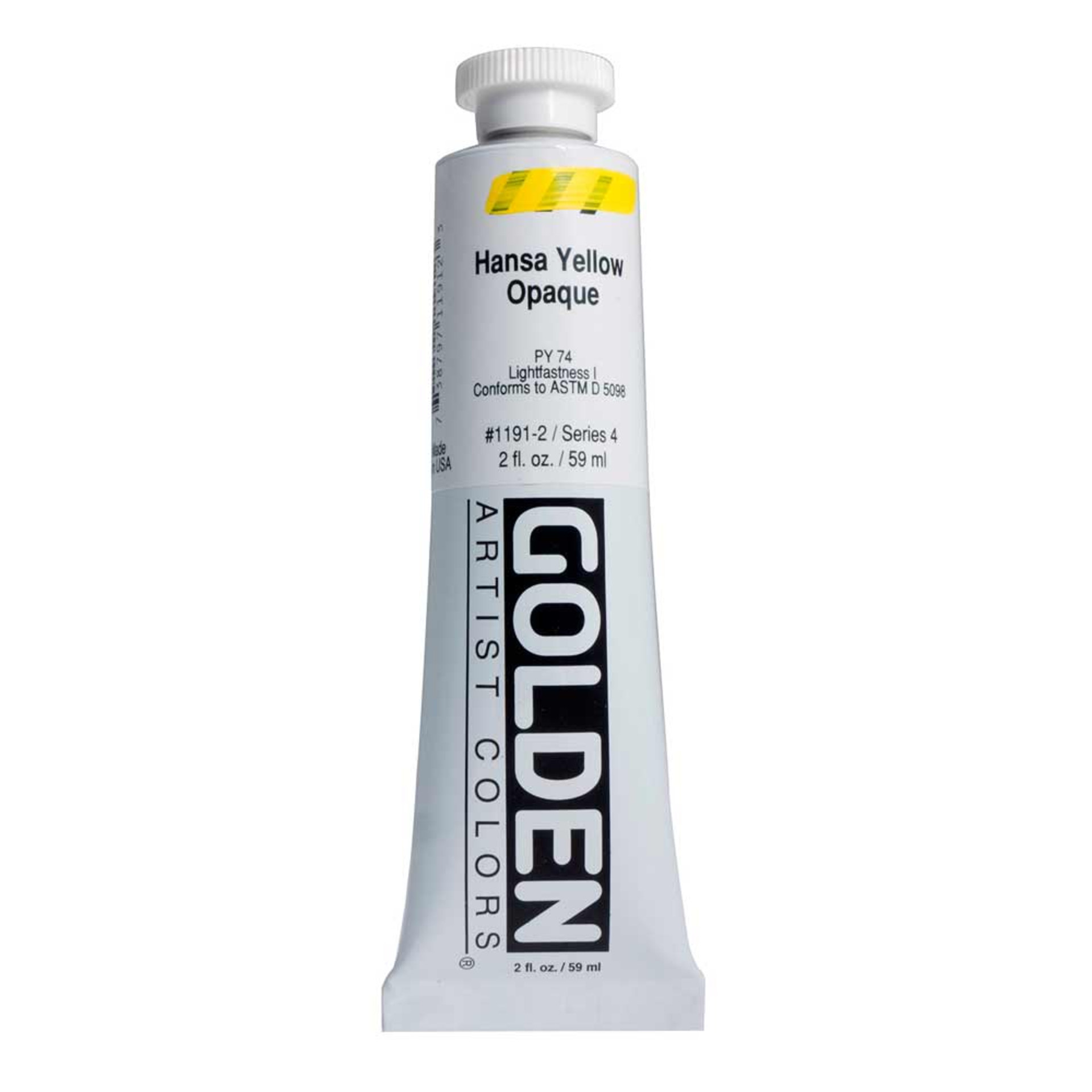 Golden Heavy Body Acrylic Tube 2oz Hansa Yellow Opaque
