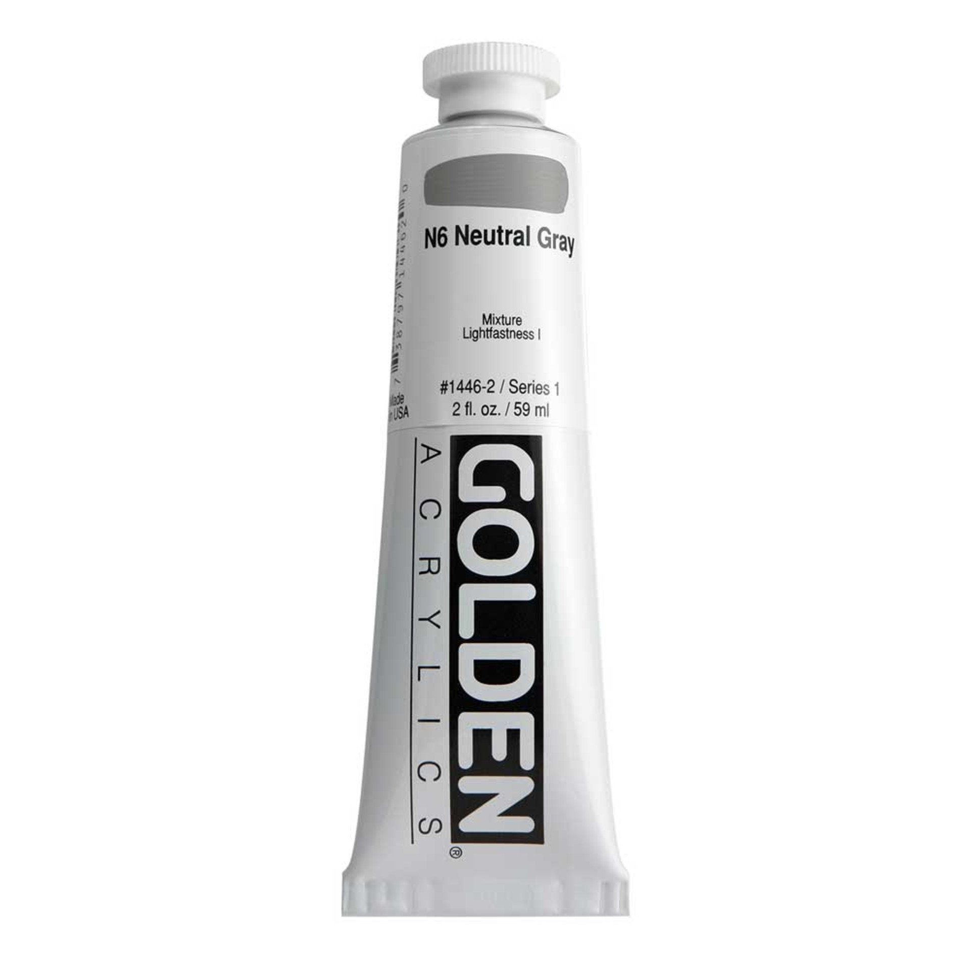 Golden Heavy Body Acrylic Tube 2oz Neutral Gray 6