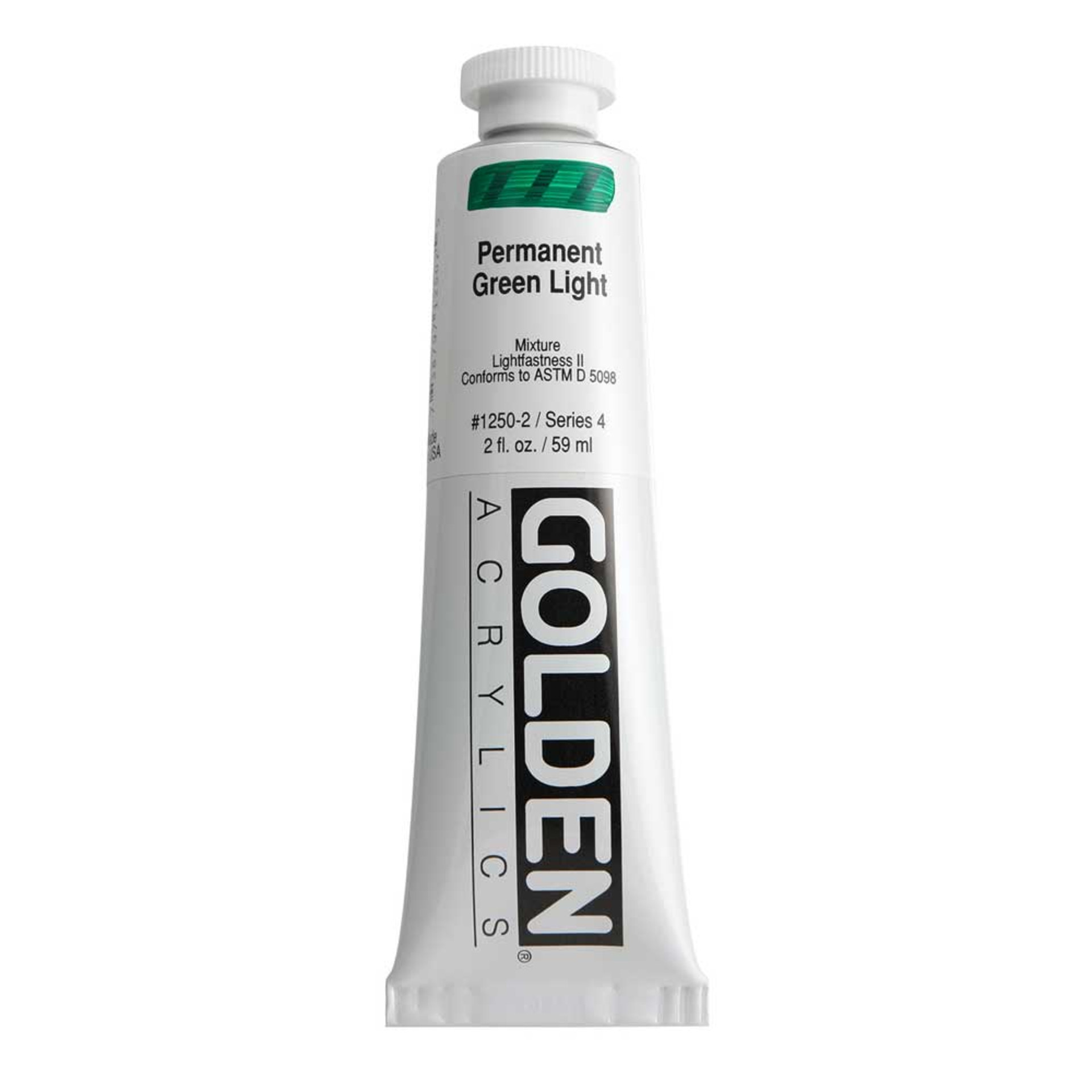 Golden Heavy Body Acrylic Tube 2oz Permanent-Green-Light