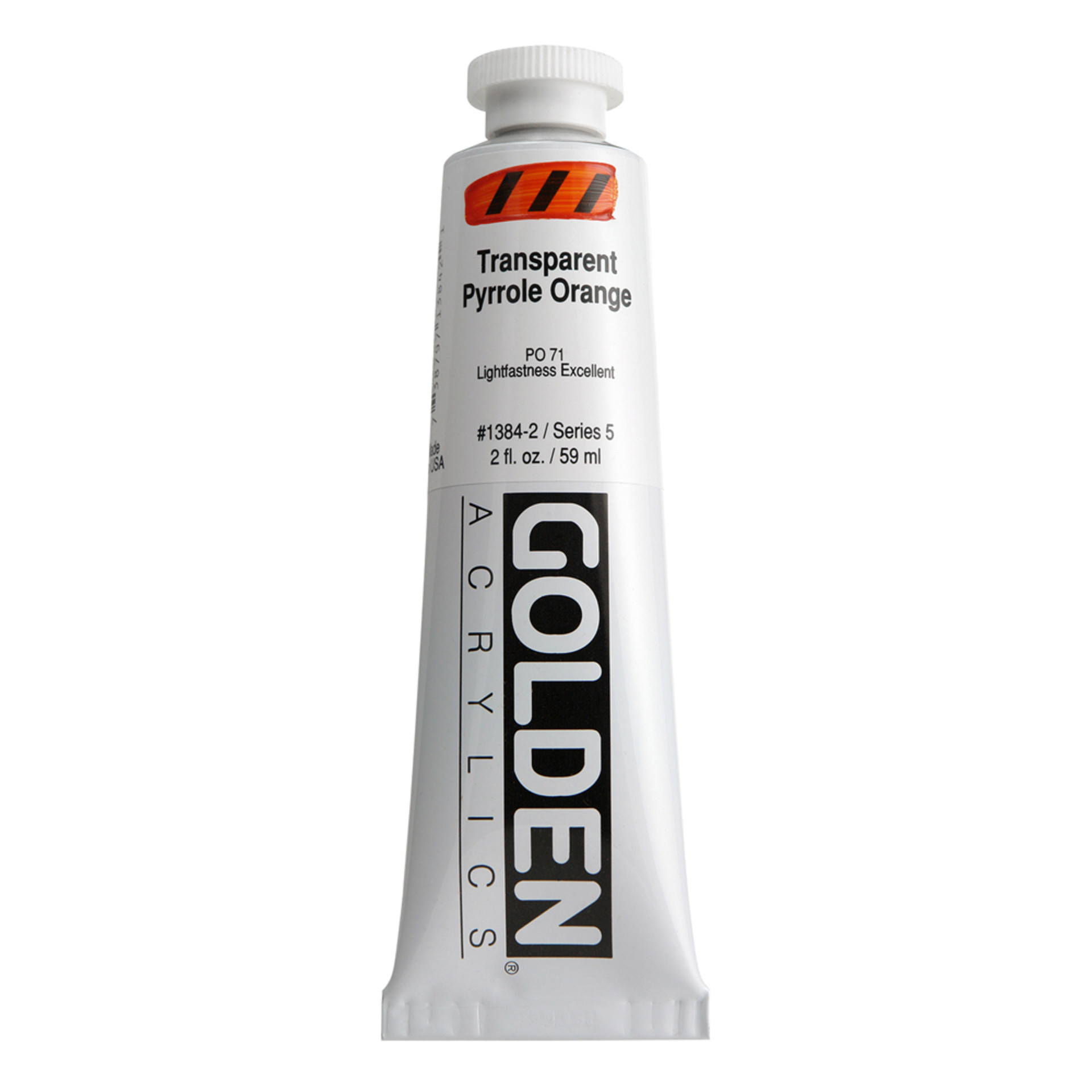 Golden Heavy Body Acrylic Tube 2oz Transparent-Pyrrol Orange