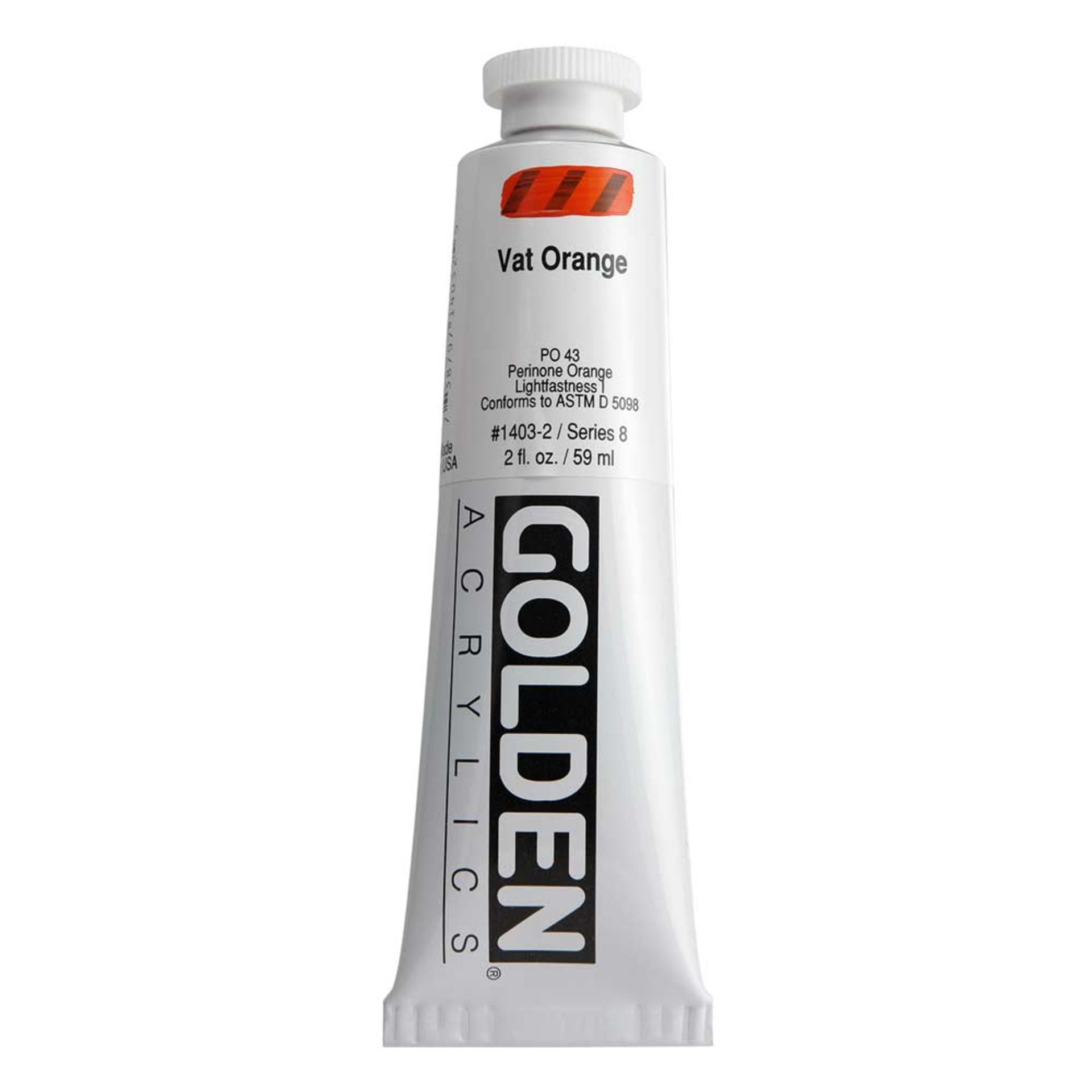 Golden Heavy Body Acrylic Tube 2oz Vat Orange