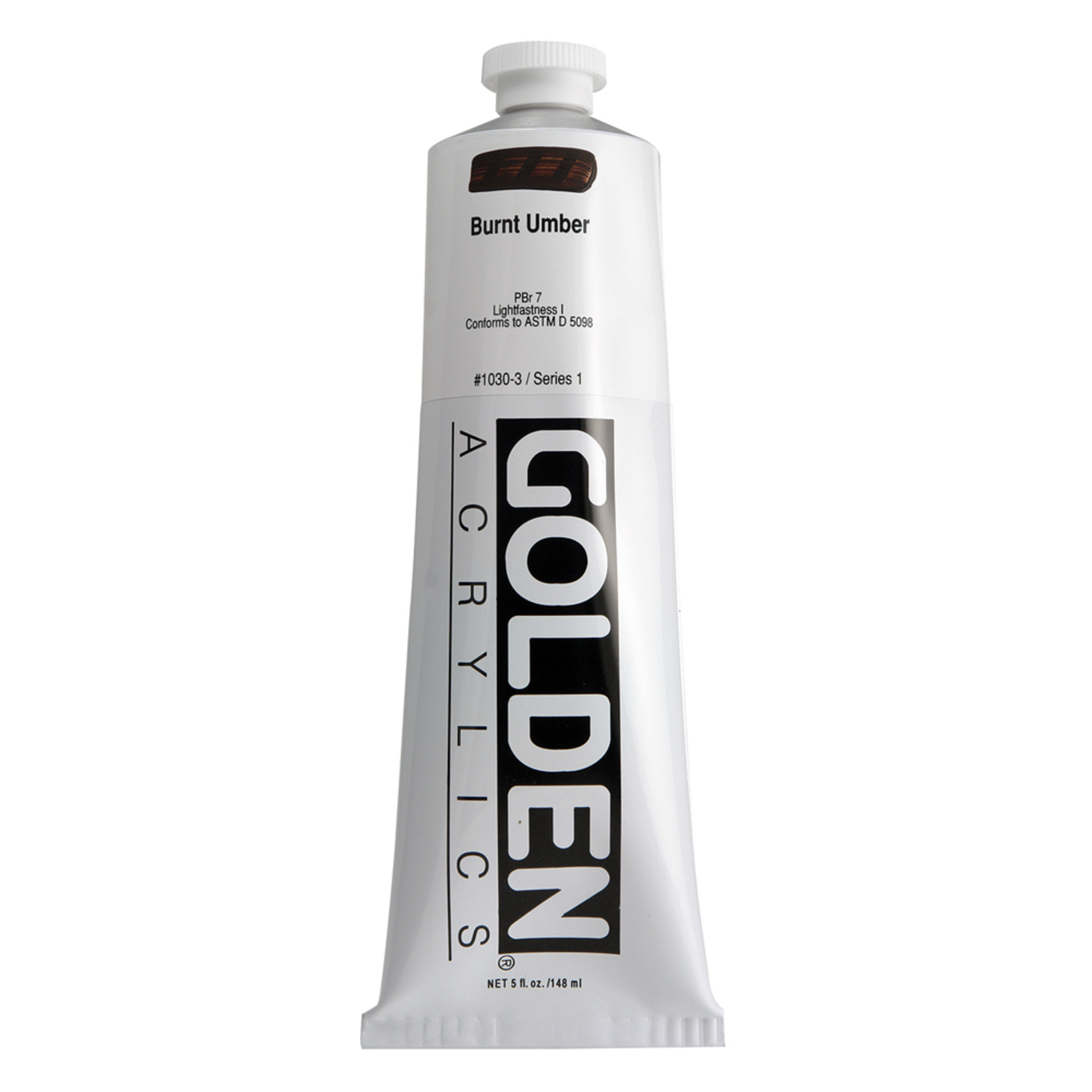 Golden Heavy Body Acrylic Tube 5oz Burnt Umber