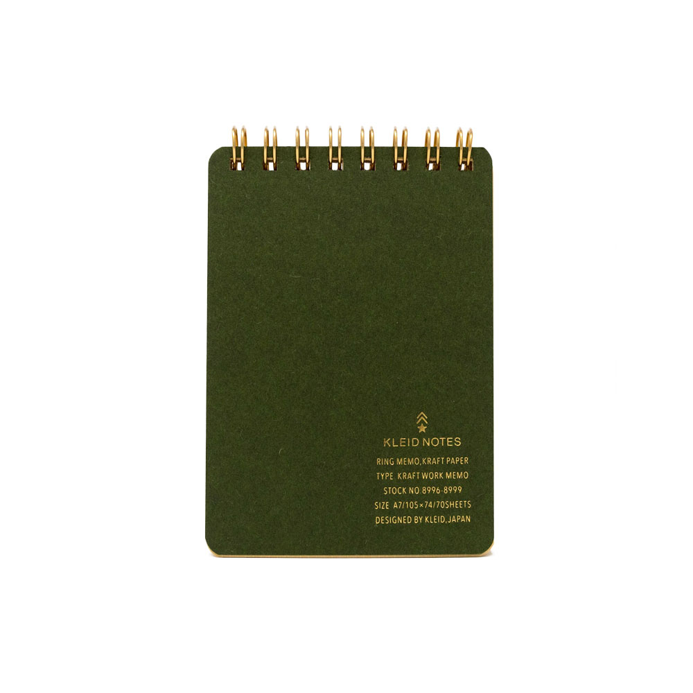 Kleid Kraft Paper Top Spiral Memo Book – Olive