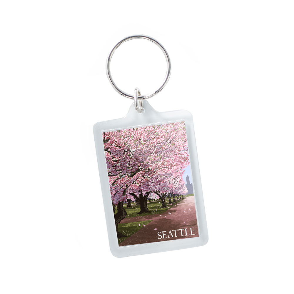 Lantern Press Campus Cherry Blossoms Keychain