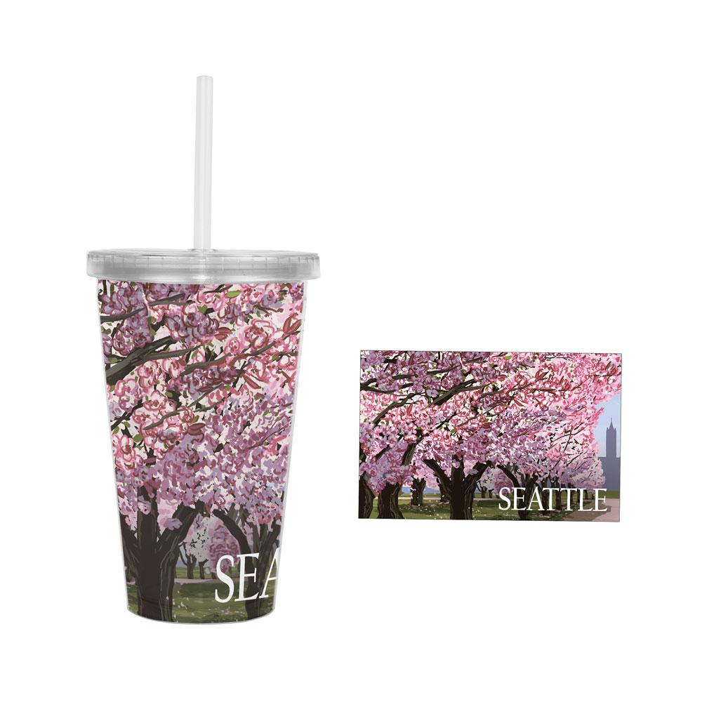 Lantern Press Campus Cherry Blossoms Tumbler 16oz