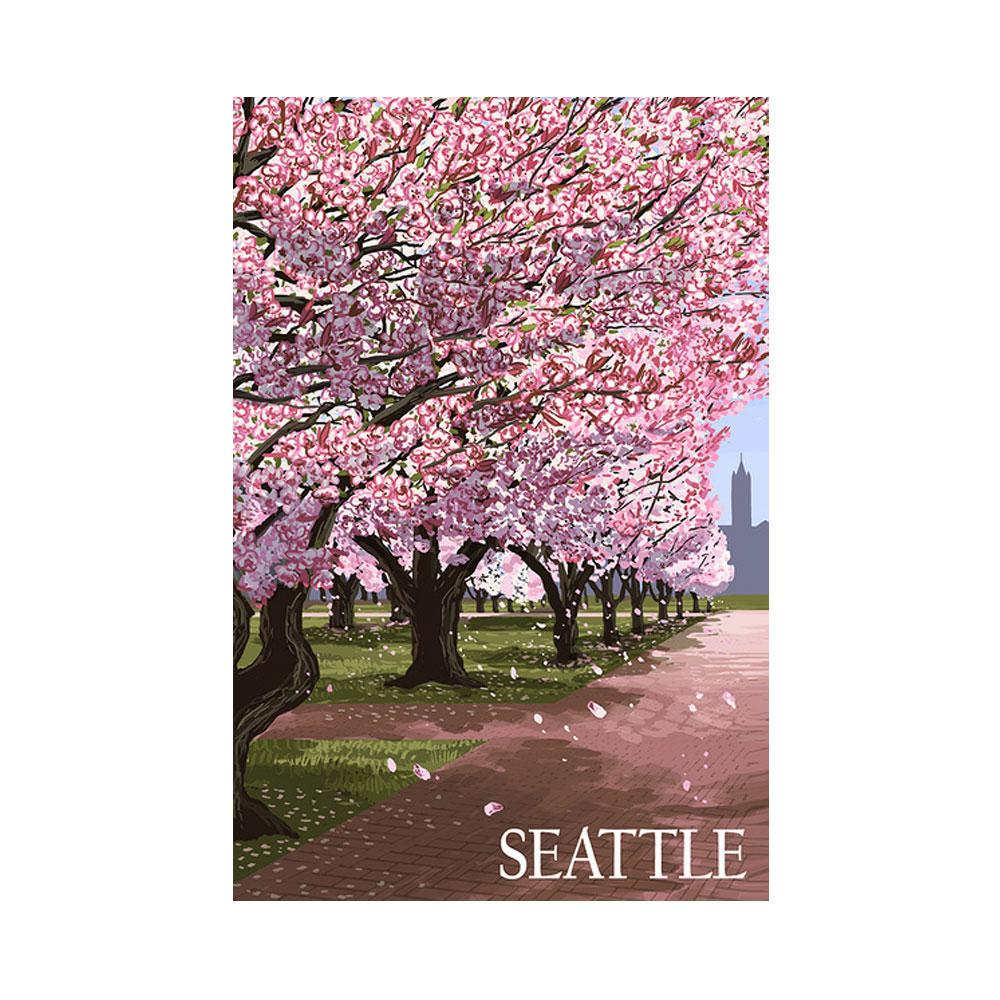 Lantern Press Washington Cherry Blossoms Poster – 12x18""