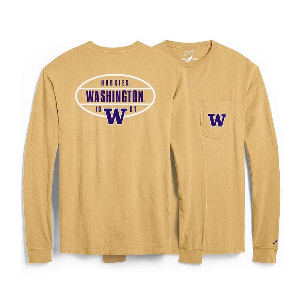 League Unisex Huskies Washington Pocket Long Sleeve – Gold