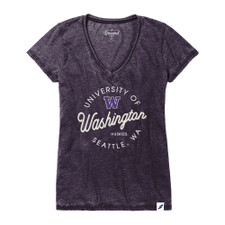 League Women's Huskies Circle Burnout V-neck Tee