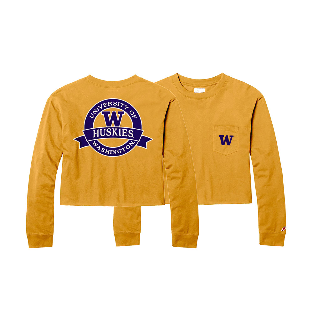League Women's U of W Clothesline Cropped Long Sleeve