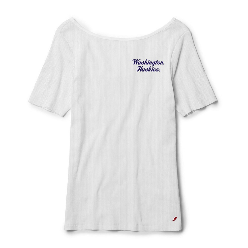 League Women's Washington Huskies Rib Ballet Back Tee – White