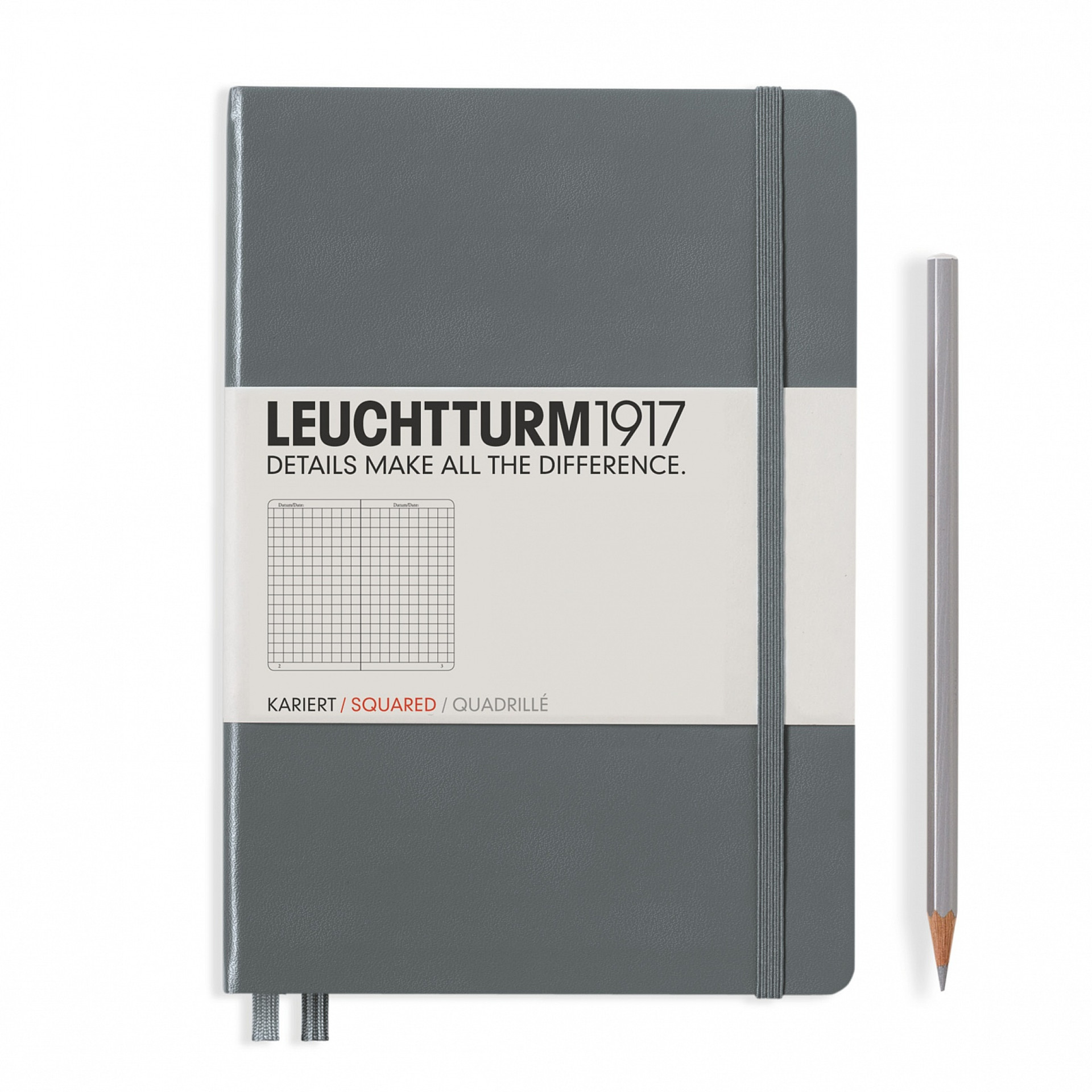 Leuchtturm 1917 A5 Medium Hardcover 249ct Anthracite Gray Grid