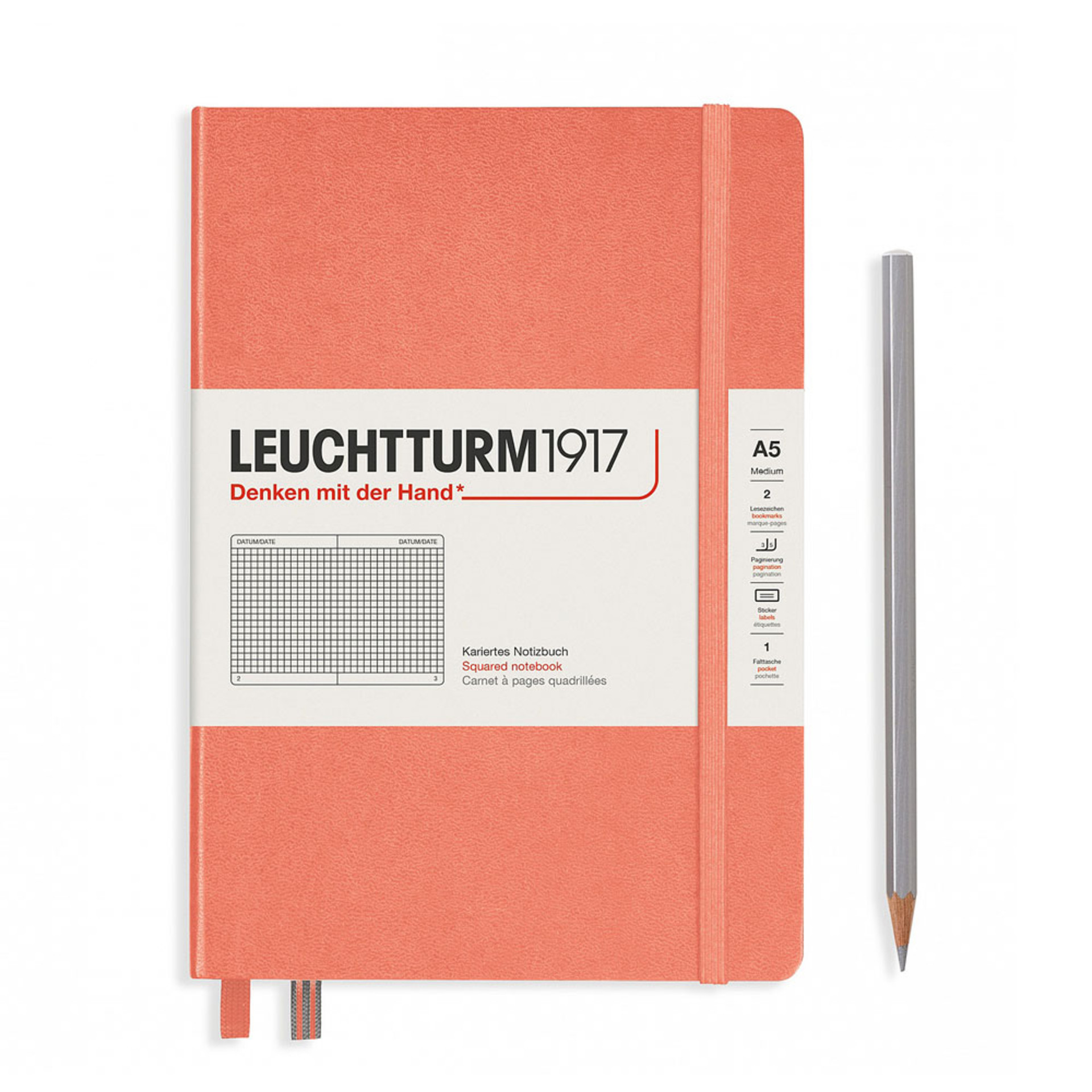 Leuchtturm 1917 A5 Medium Hardcover Notebook – Bellini – Grid