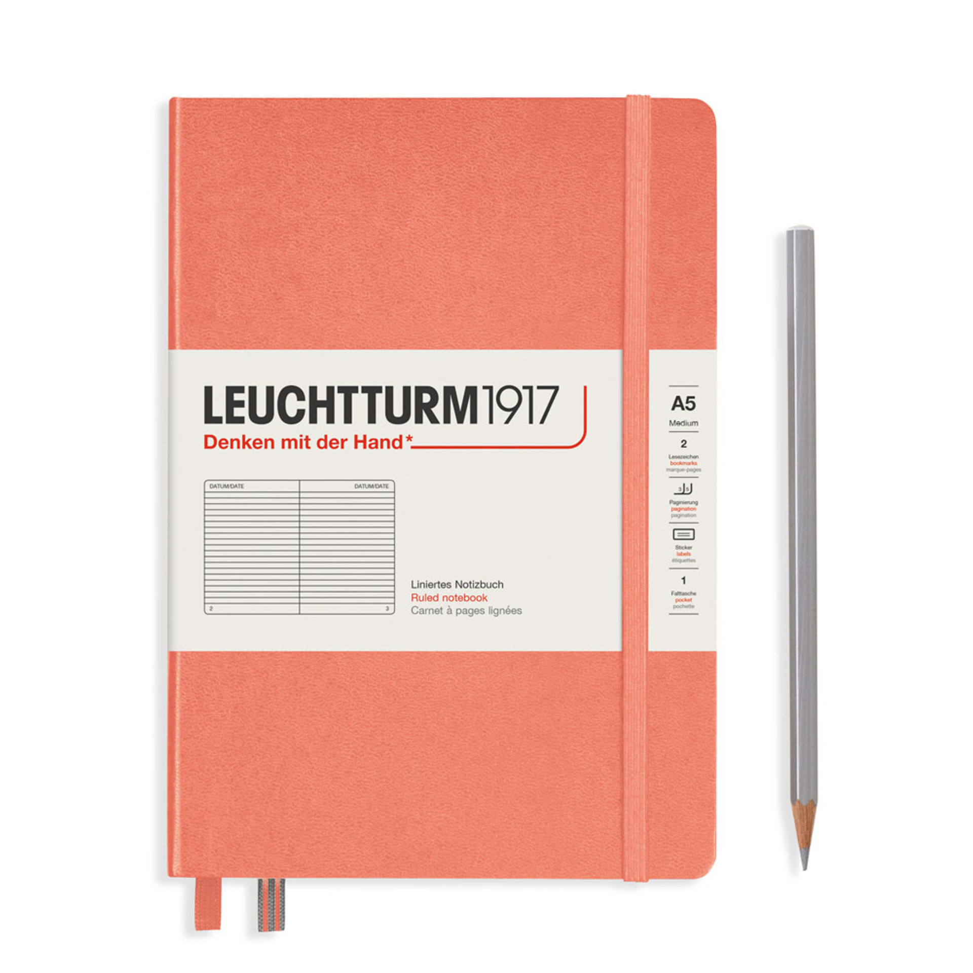 Leuchtturm 1917 A5 Medium Hardcover Notebook – Bellini – Ruled
