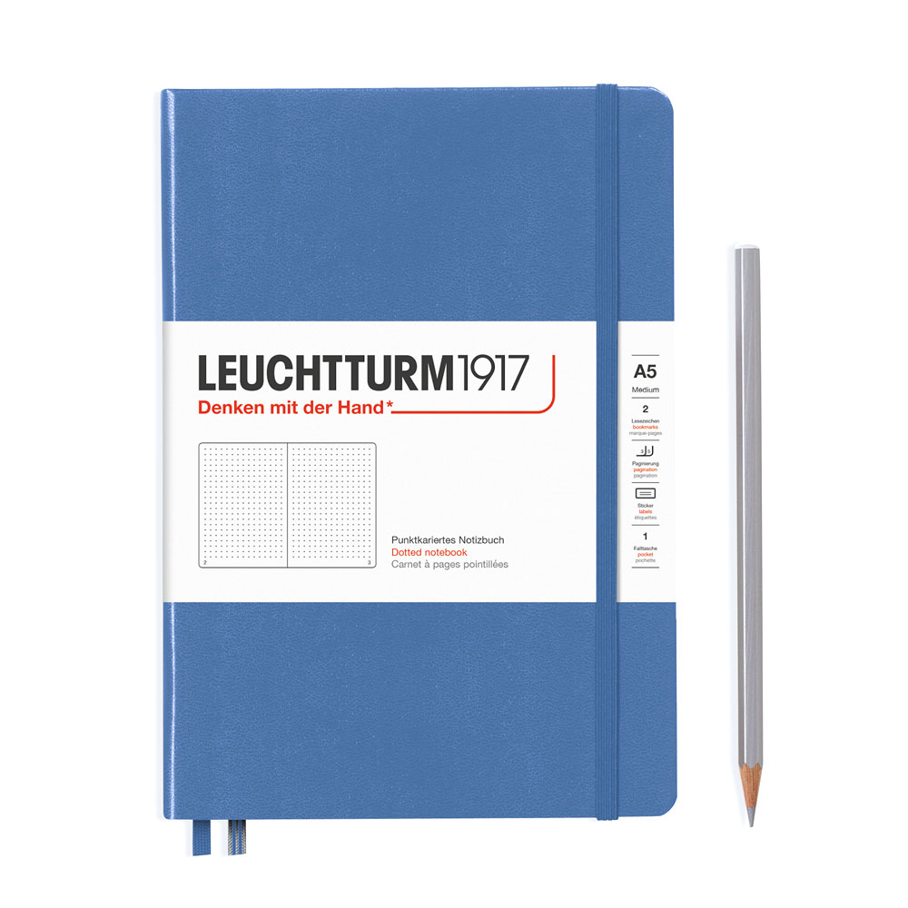 Leuchtturm 1917 A5 Medium Hardcover Notebook – Denim – Dotted