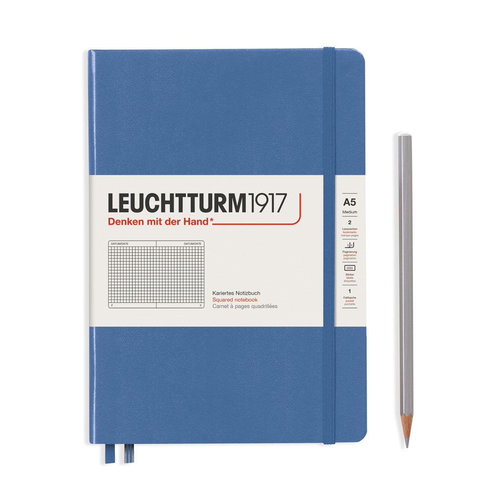Leuchtturm 1917 A5 Medium Hardcover Notebook – Denim – Grid