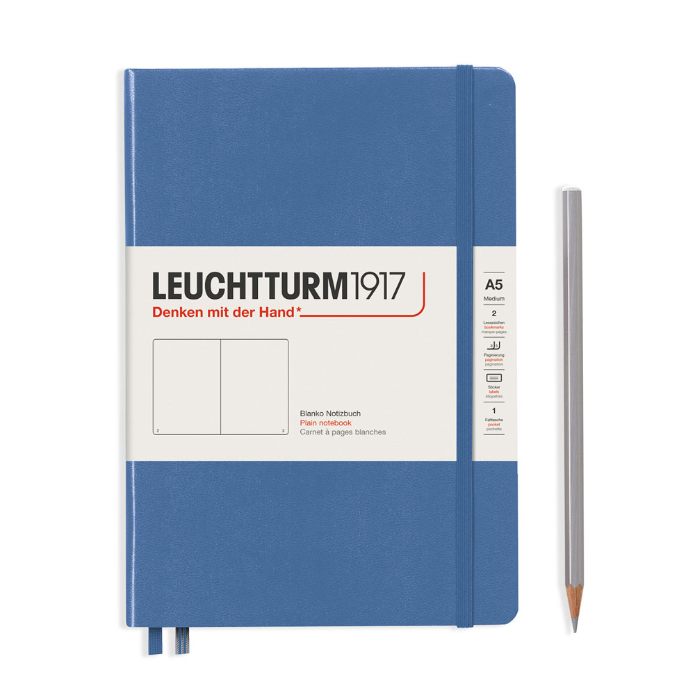 Leuchtturm 1917 A5 Medium Hardcover Notebook – Denim – Plain