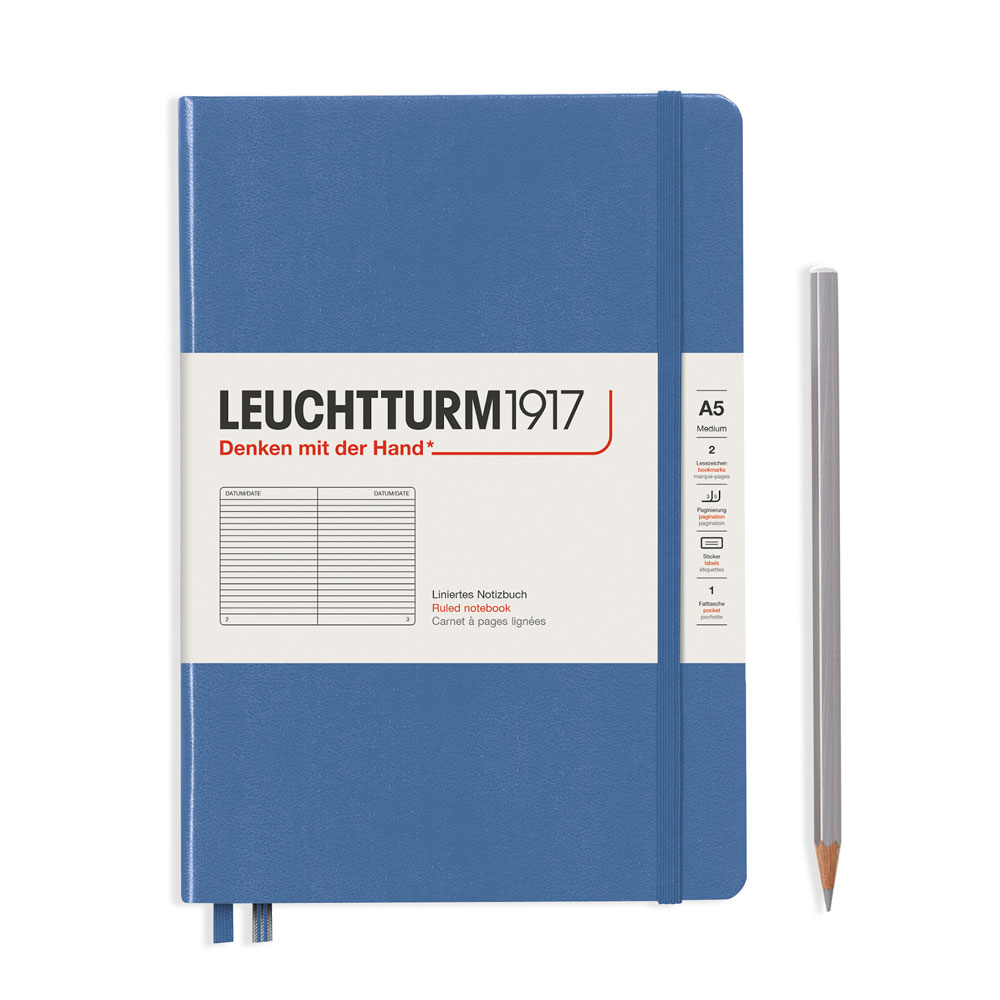 Leuchtturm 1917 A5 Medium Hardcover Notebook – Denim – Ruled