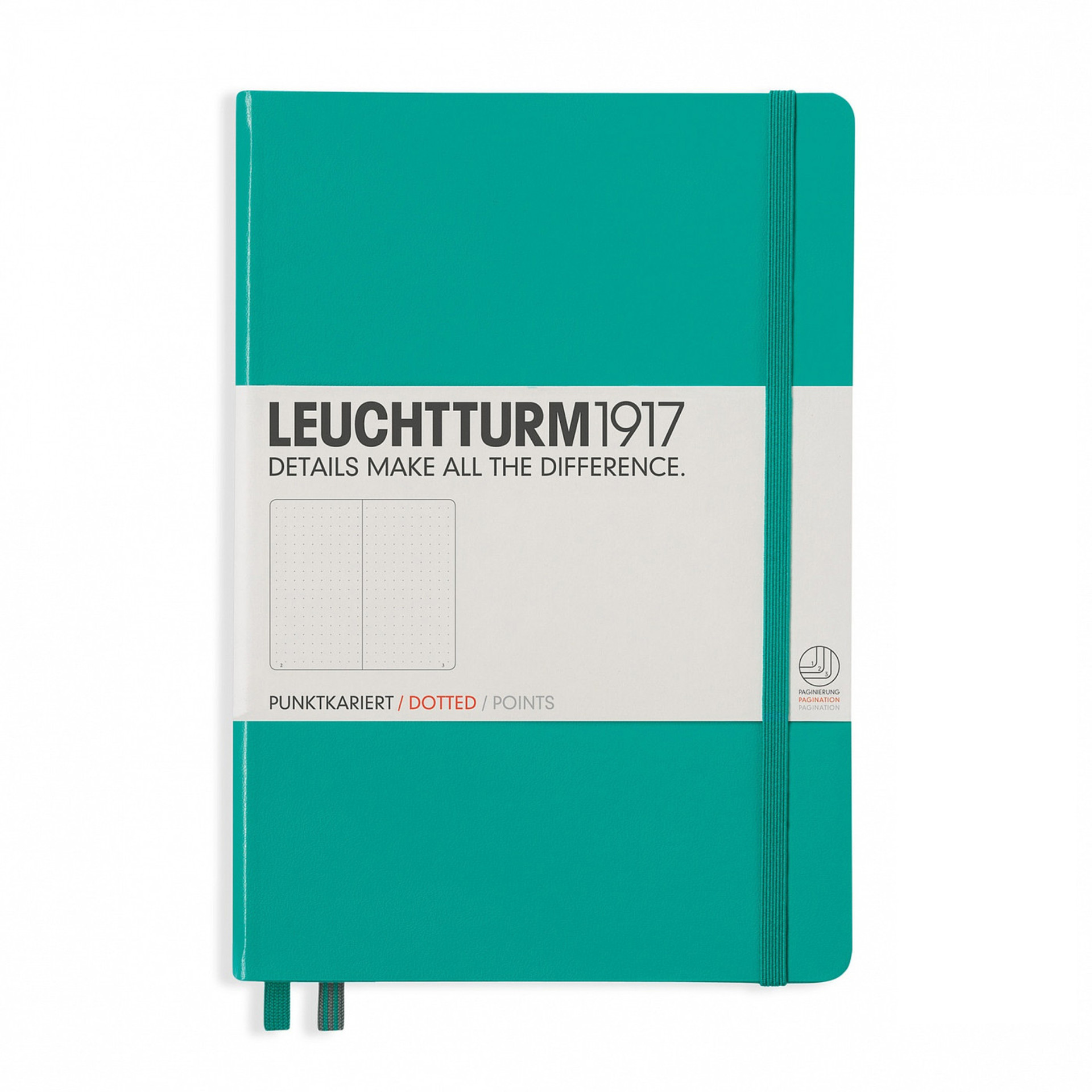 Leuchtturm 1917 A5 Medium Hardcover Notebook – Emerald – Dotted