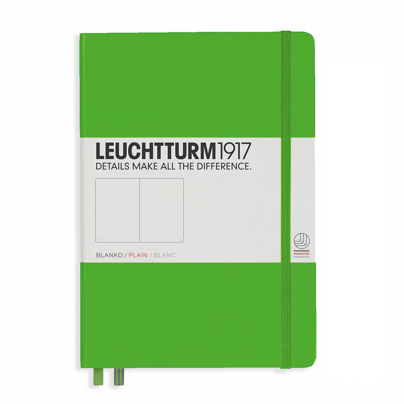 Leuchtturm 1917 A5 Medium Hardcover Notebook – Fresh Green – Plain